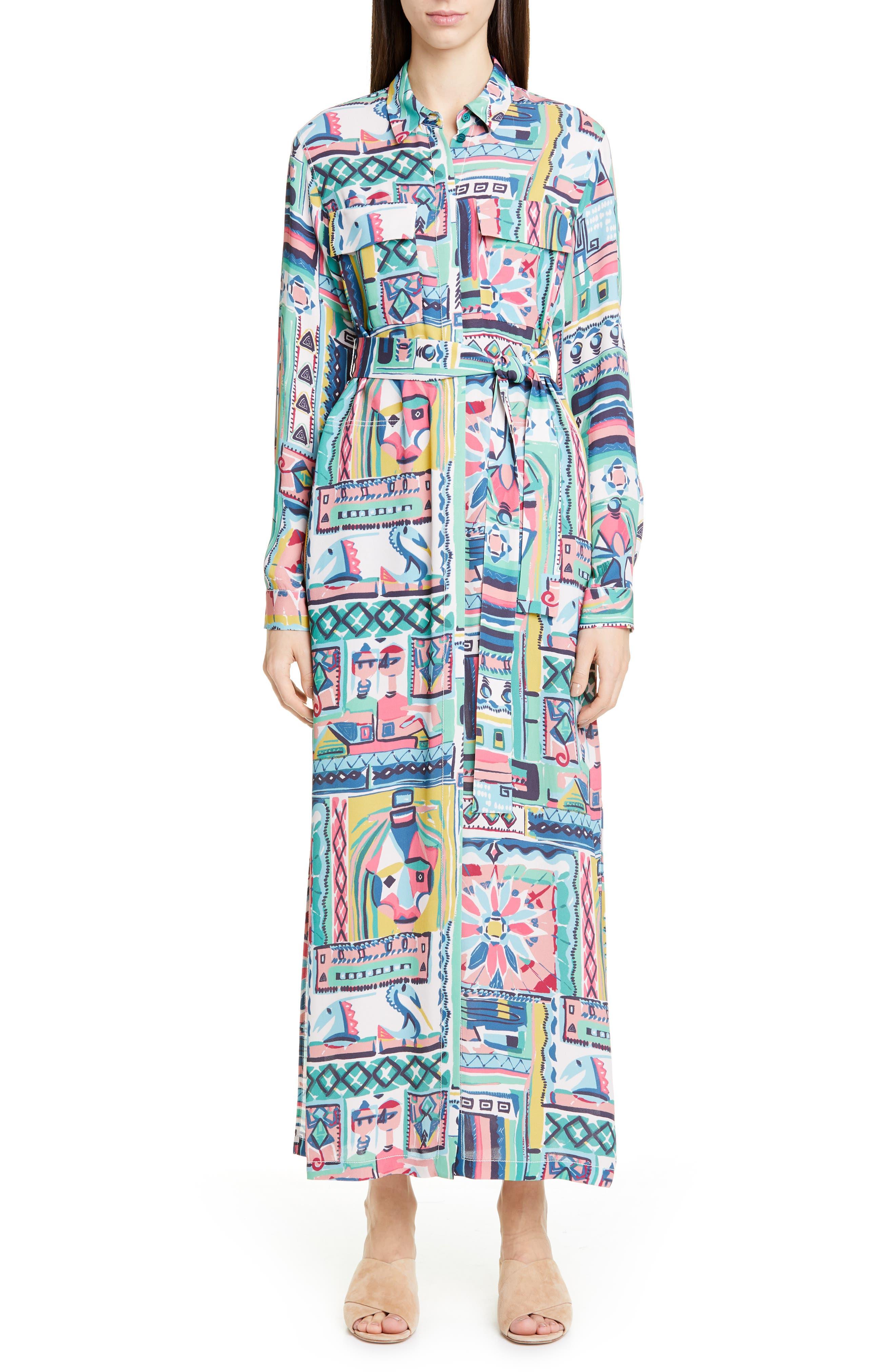 LAFAYETTE 148 NEW YORK, Doha Palazzo Patchwork Print Maxi Shirtdress, Main thumbnail 1, color, 400
