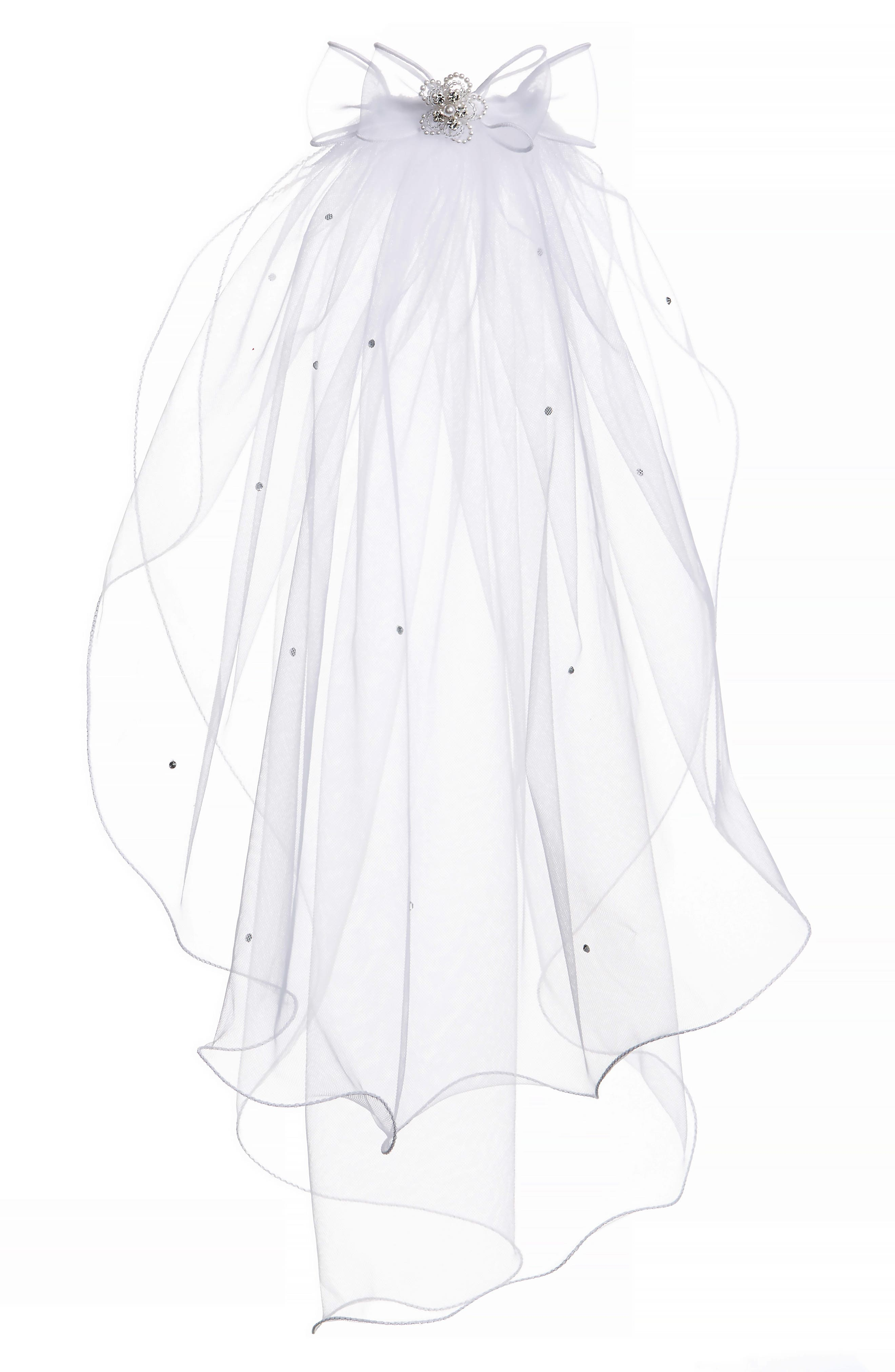 LAUREN MARIE Beaded Bow & Veil, Main, color, WHITE