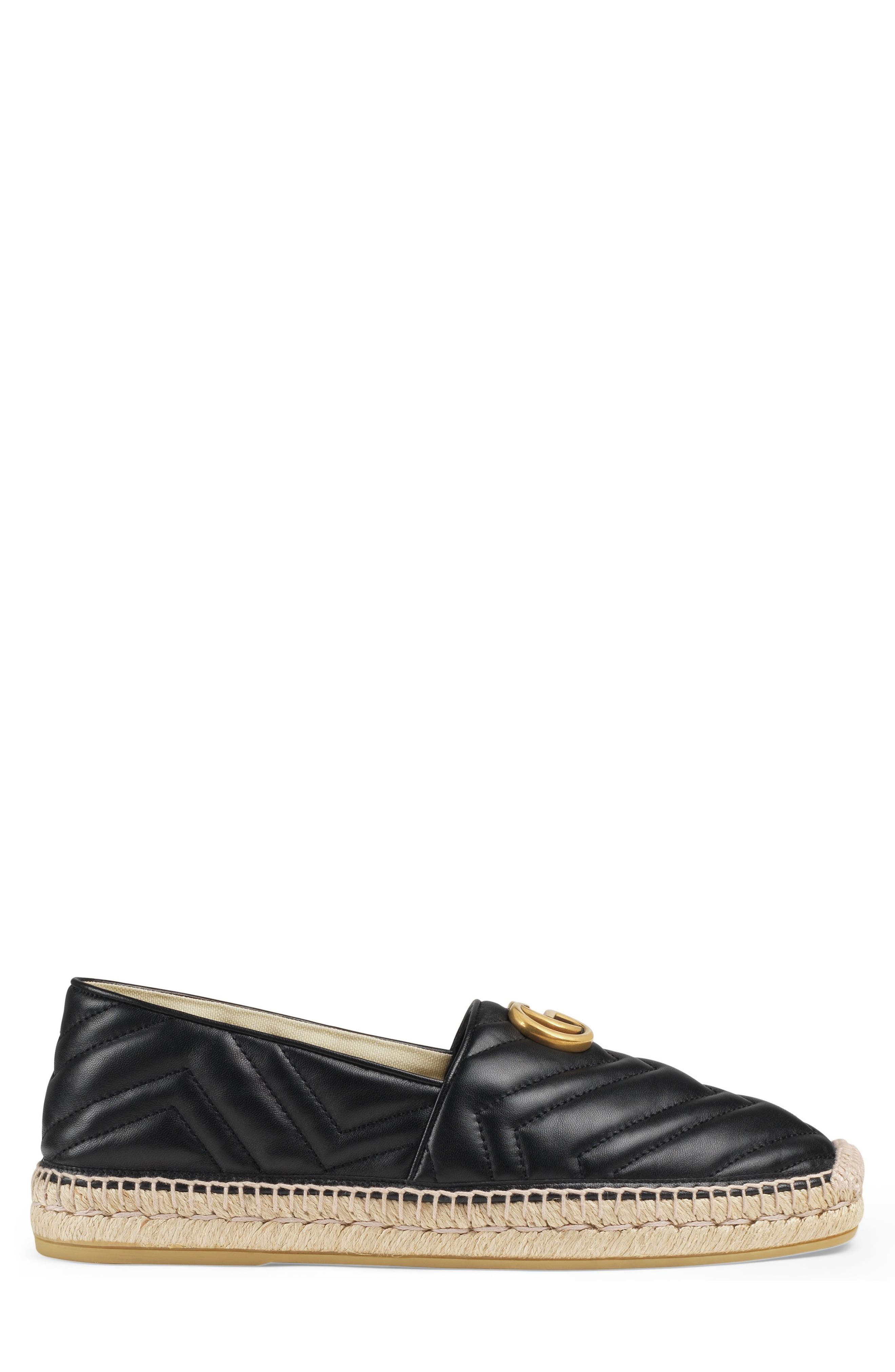 GUCCI, Alejandro Quilted Espadrille, Alternate thumbnail 2, color, NERO