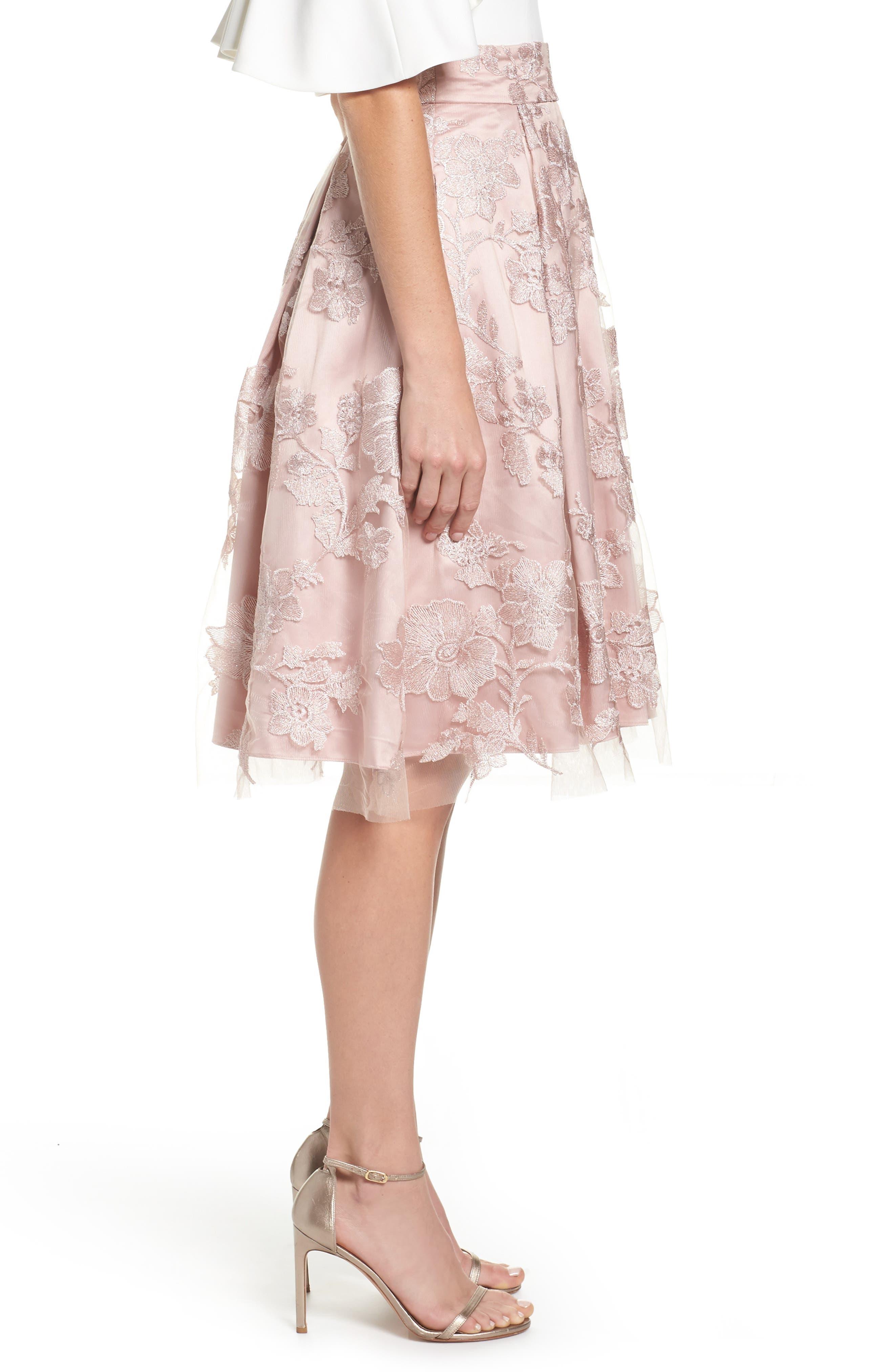 ELIZA J, Floral Embroidered Skirt, Alternate thumbnail 3, color, 254