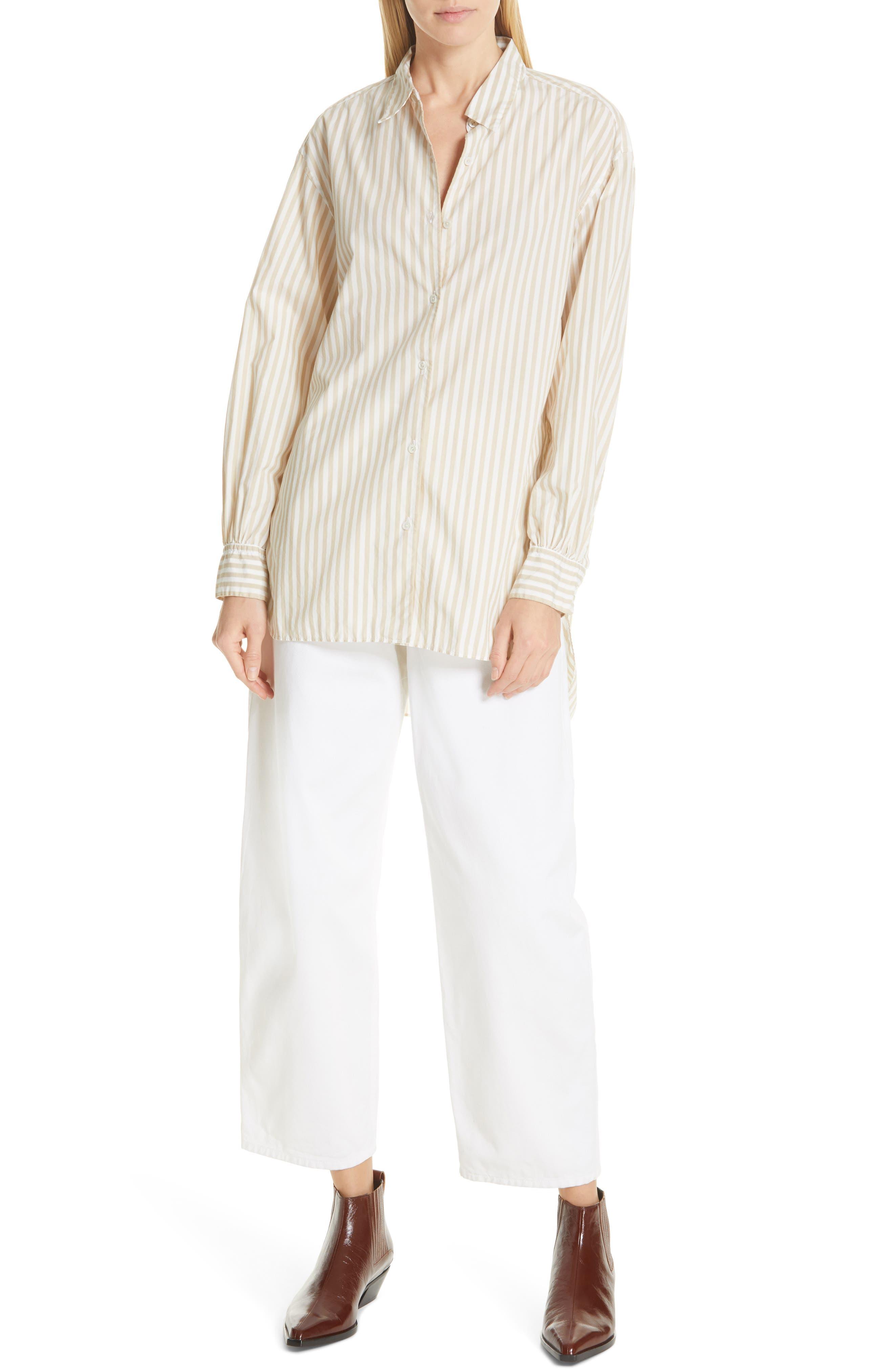 NILI LOTAN, Noa Stripe Shirt, Alternate thumbnail 7, color, TAN STRIPE