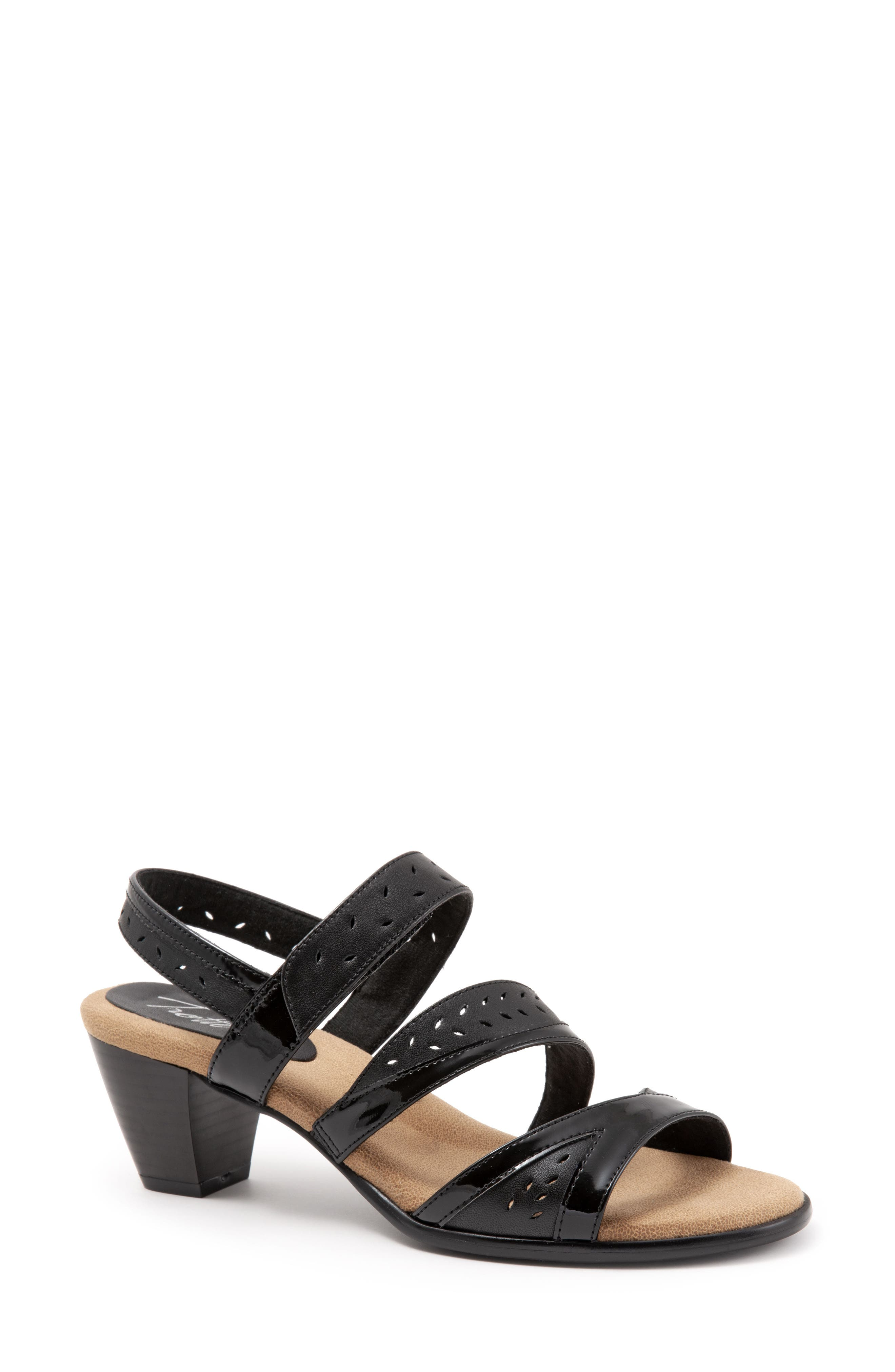 TROTTERS, Marvie Perforated Strappy Sandal, Main thumbnail 1, color, BLACK LEATHER
