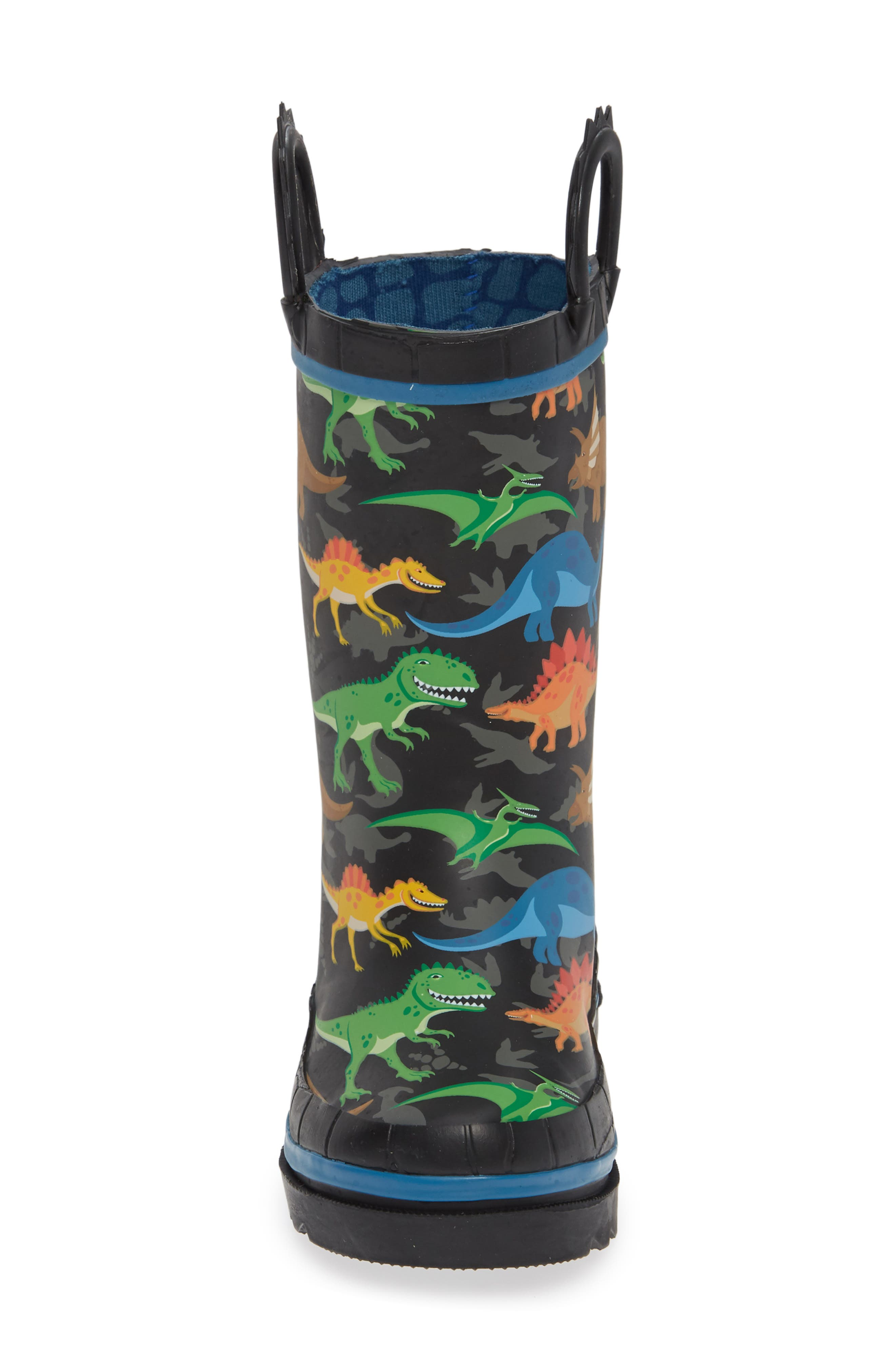 WESTERN CHIEF, Dino World Waterproof Rain Boots, Alternate thumbnail 4, color, BLACK
