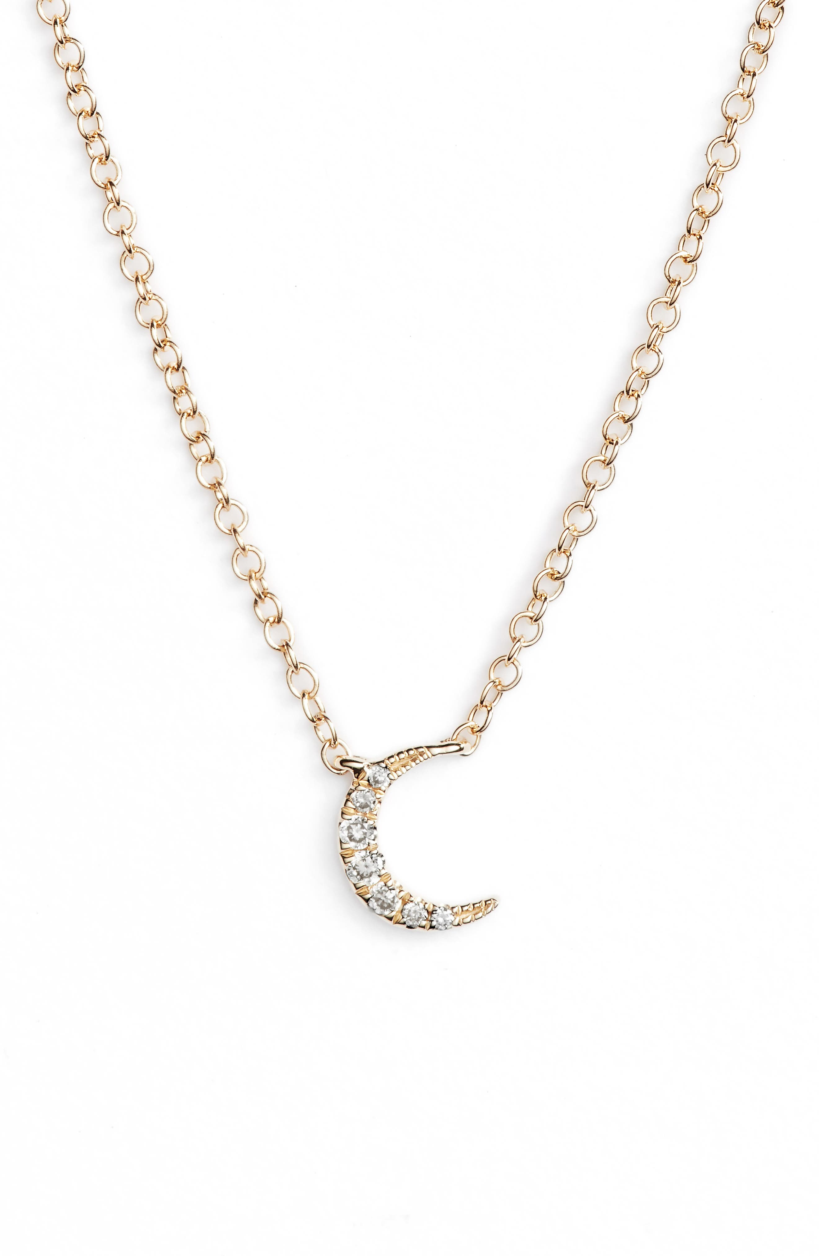 EF COLLECTION Mini Moon Diamond Choker Necklace, Main, color, YELLOW GOLD