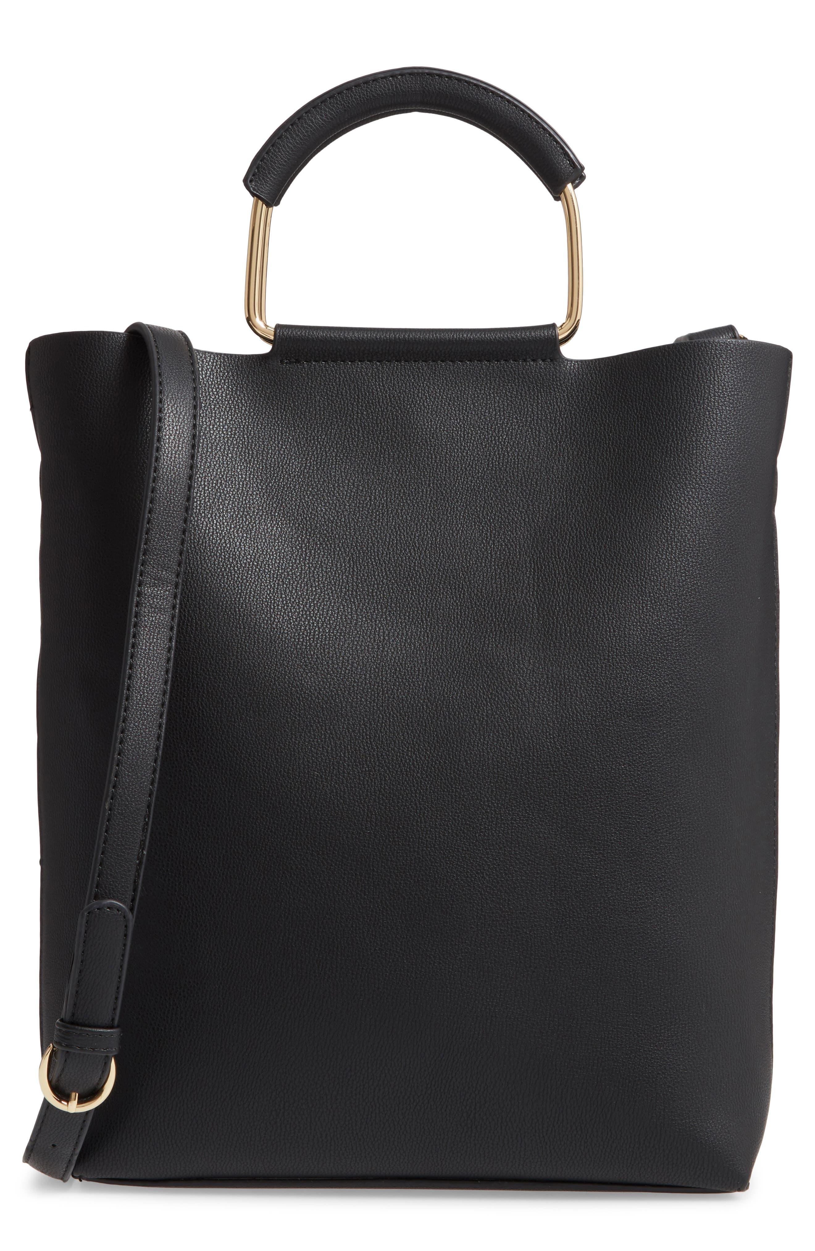 TROUVÉ Payton Convertible Faux Leather Tote, Main, color, BLACK