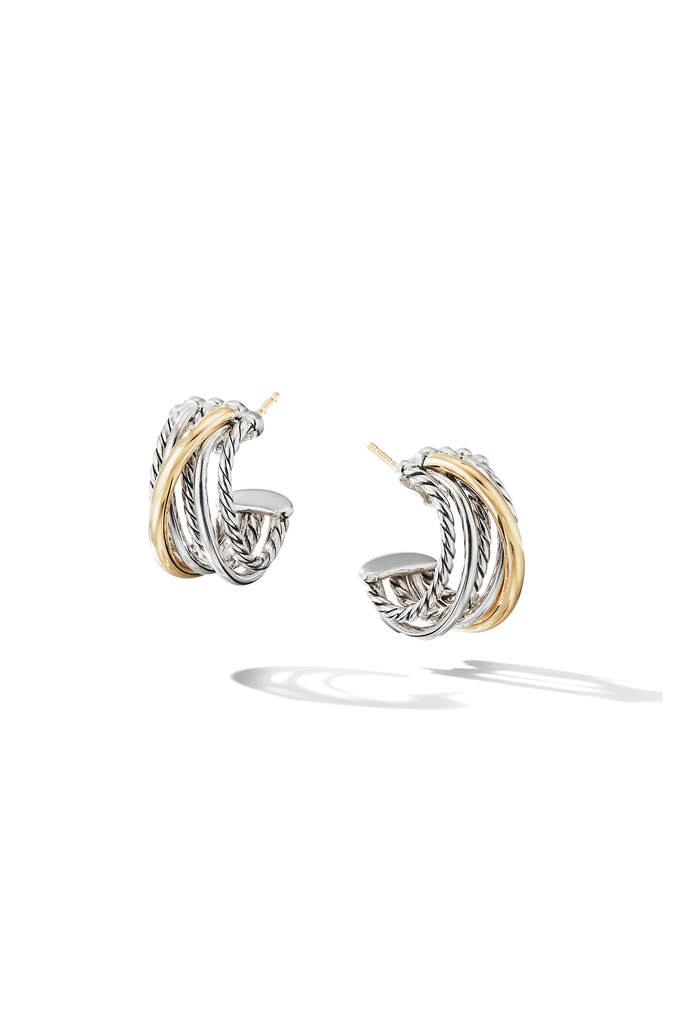 DAVID YURMAN, Crossover Huggie Hoop Earrings, Main thumbnail 1, color, SILVER/ GOLD