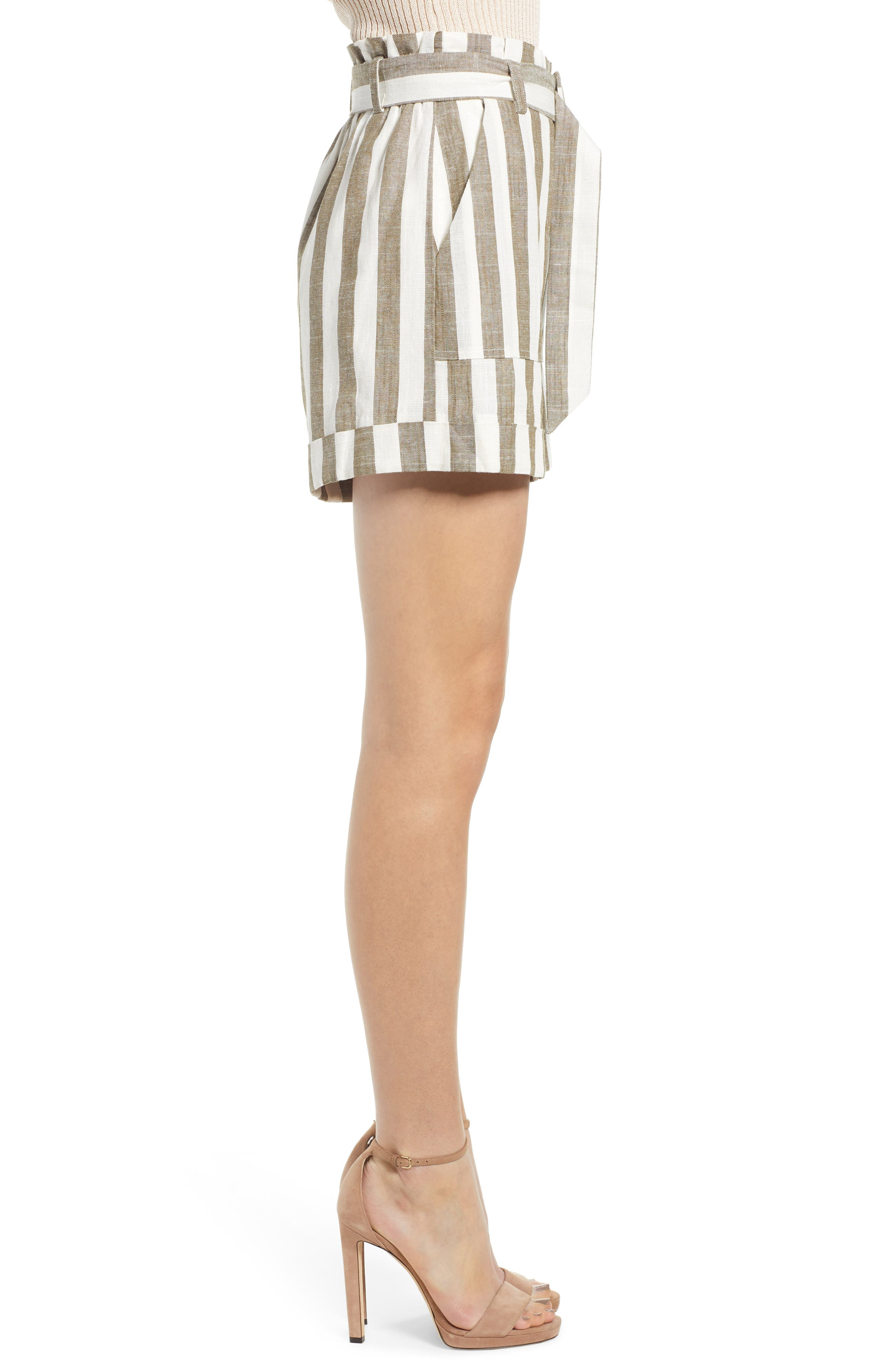 CHRISELLE LIM COLLECTION, Chriselle Lim Cherie Shorts, Alternate thumbnail 3, color, OLIVE STRIPE