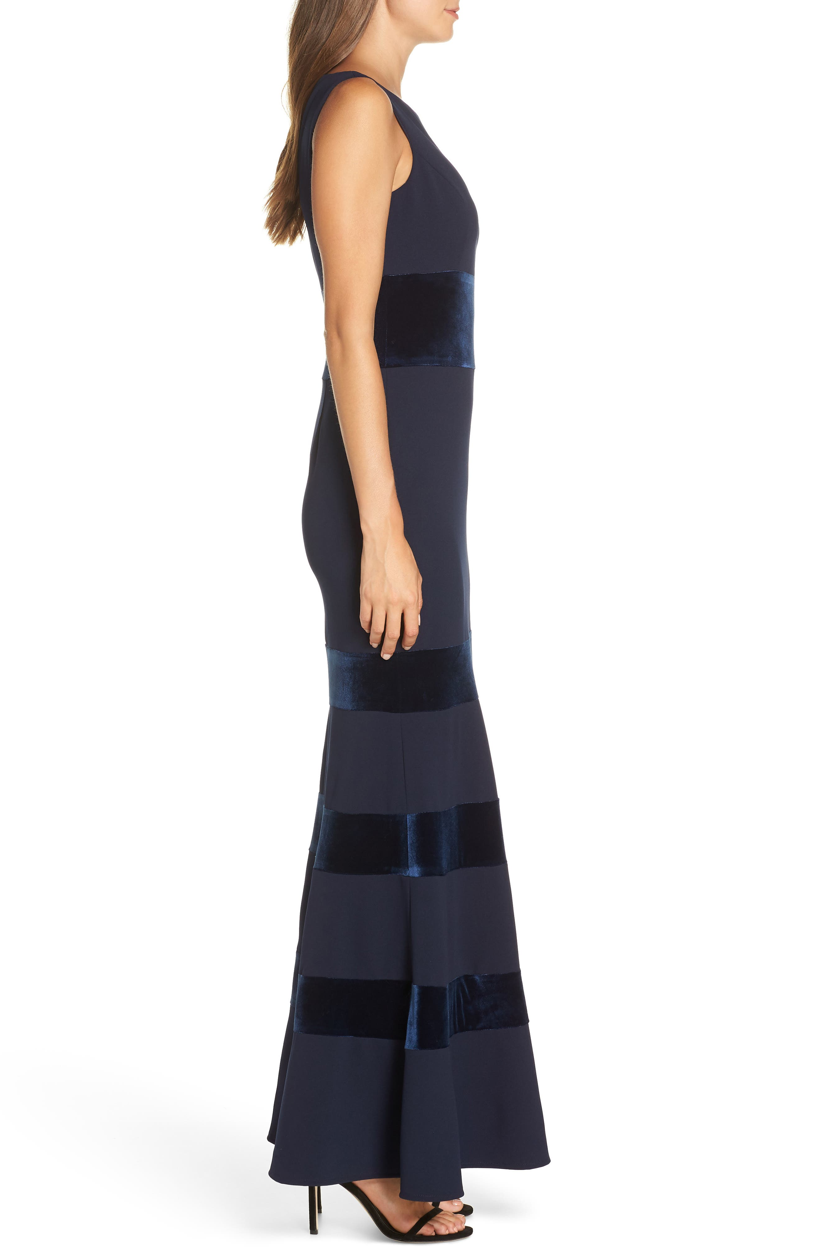 VINCE CAMUTO, Velvet & Scuba Crepe Mermaid Gown, Alternate thumbnail 4, color, NAVY