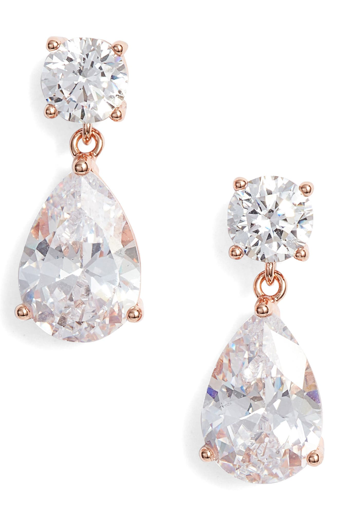 NORDSTROM, Cubic Zirconia Teardrop Earrings, Main thumbnail 1, color, CLEAR- ROSE GOLD