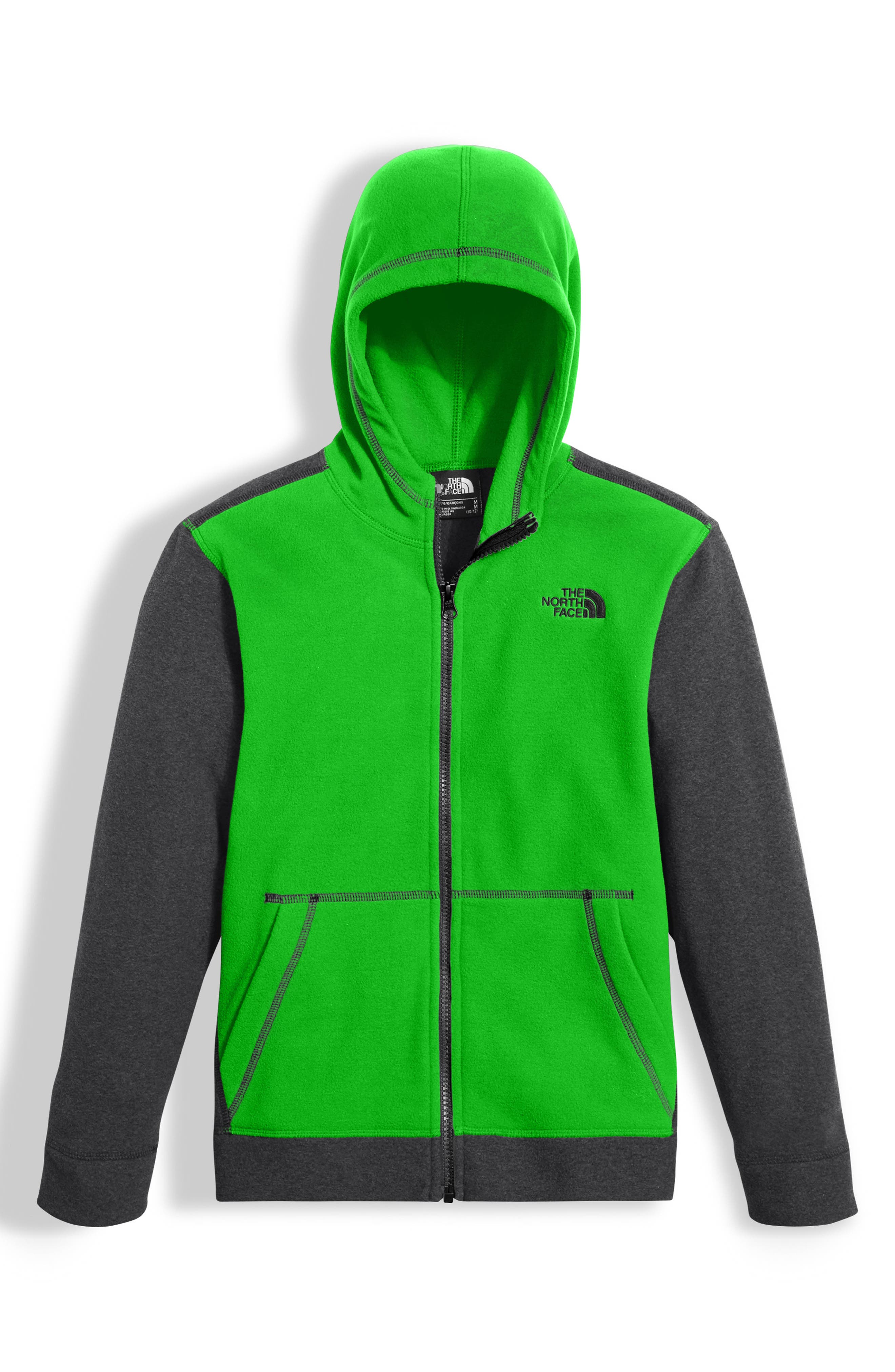 Boys The North Face Glacier Full Zip Hoodie Size L (1416)  Green