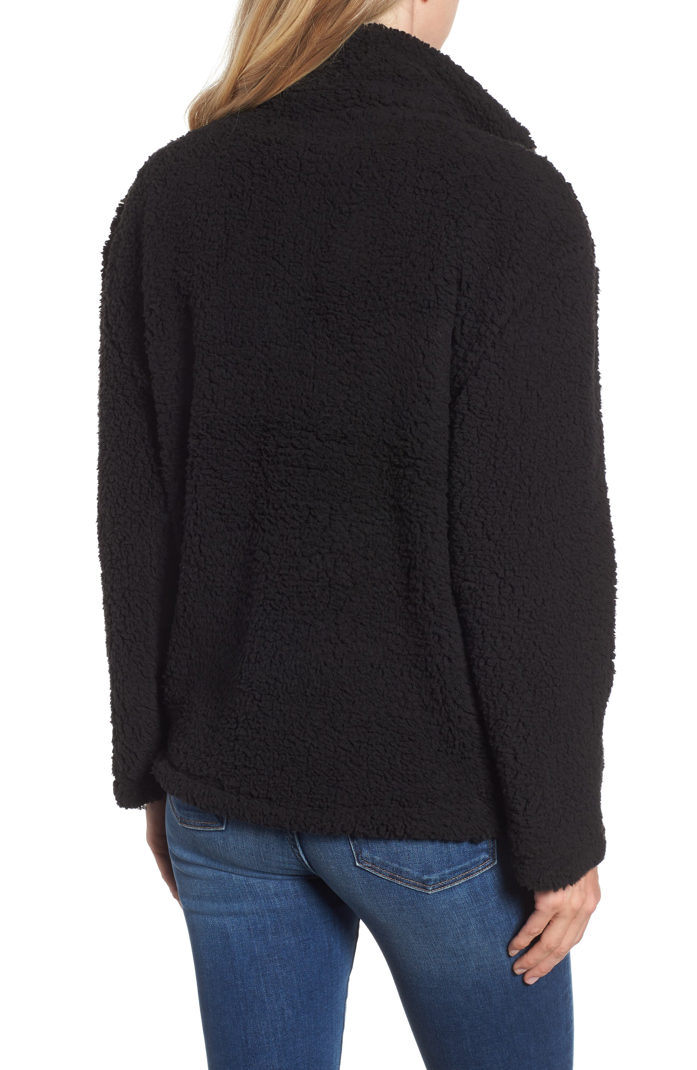MARC NEW YORK, Teddy Faux Shearling Quarter Zip Jacket, Alternate thumbnail 2, color, BLACK