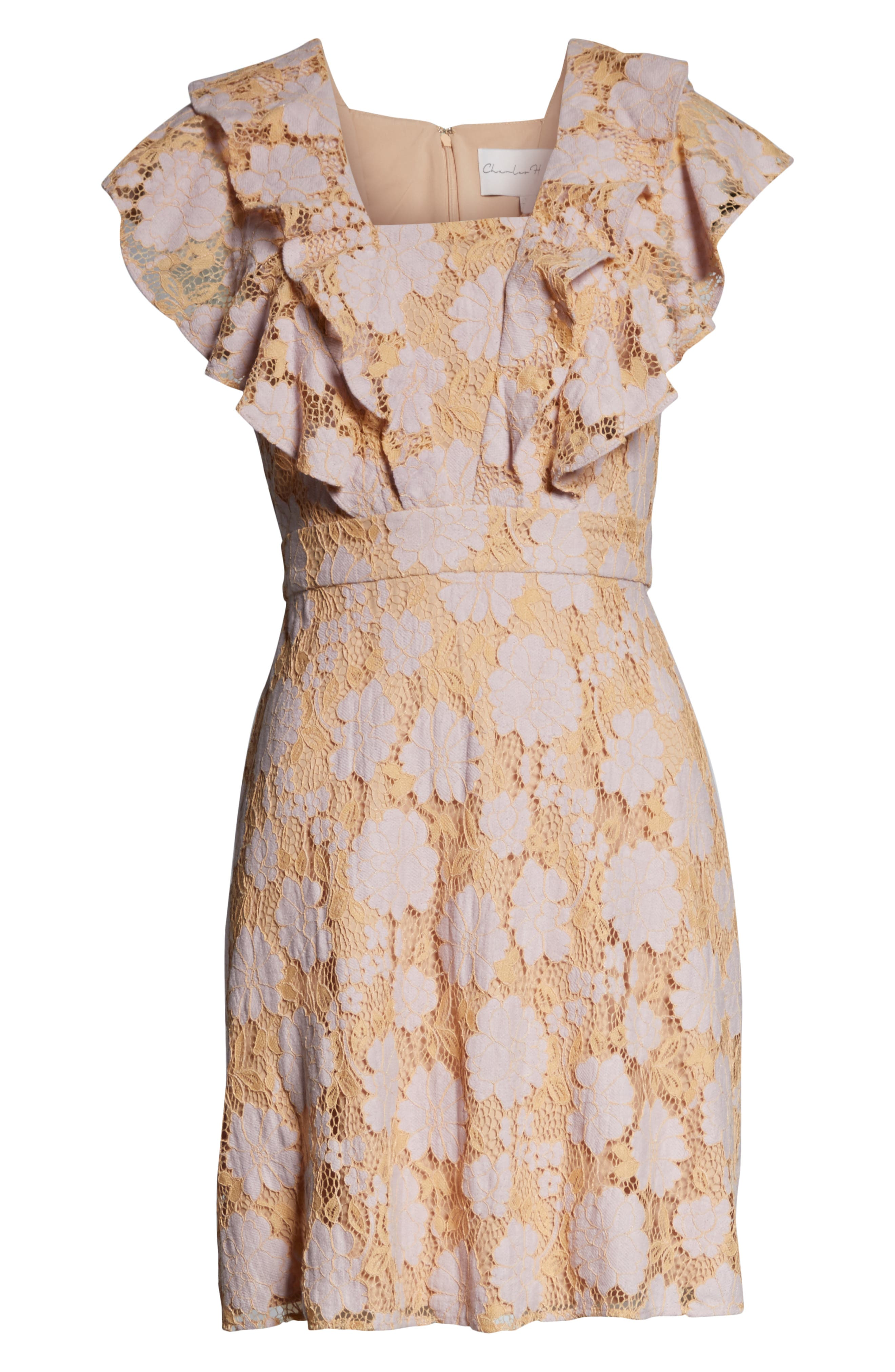 CHARLES HENRY, Ruffle Lace Minidress, Alternate thumbnail 7, color, LILAC-PINK LACE