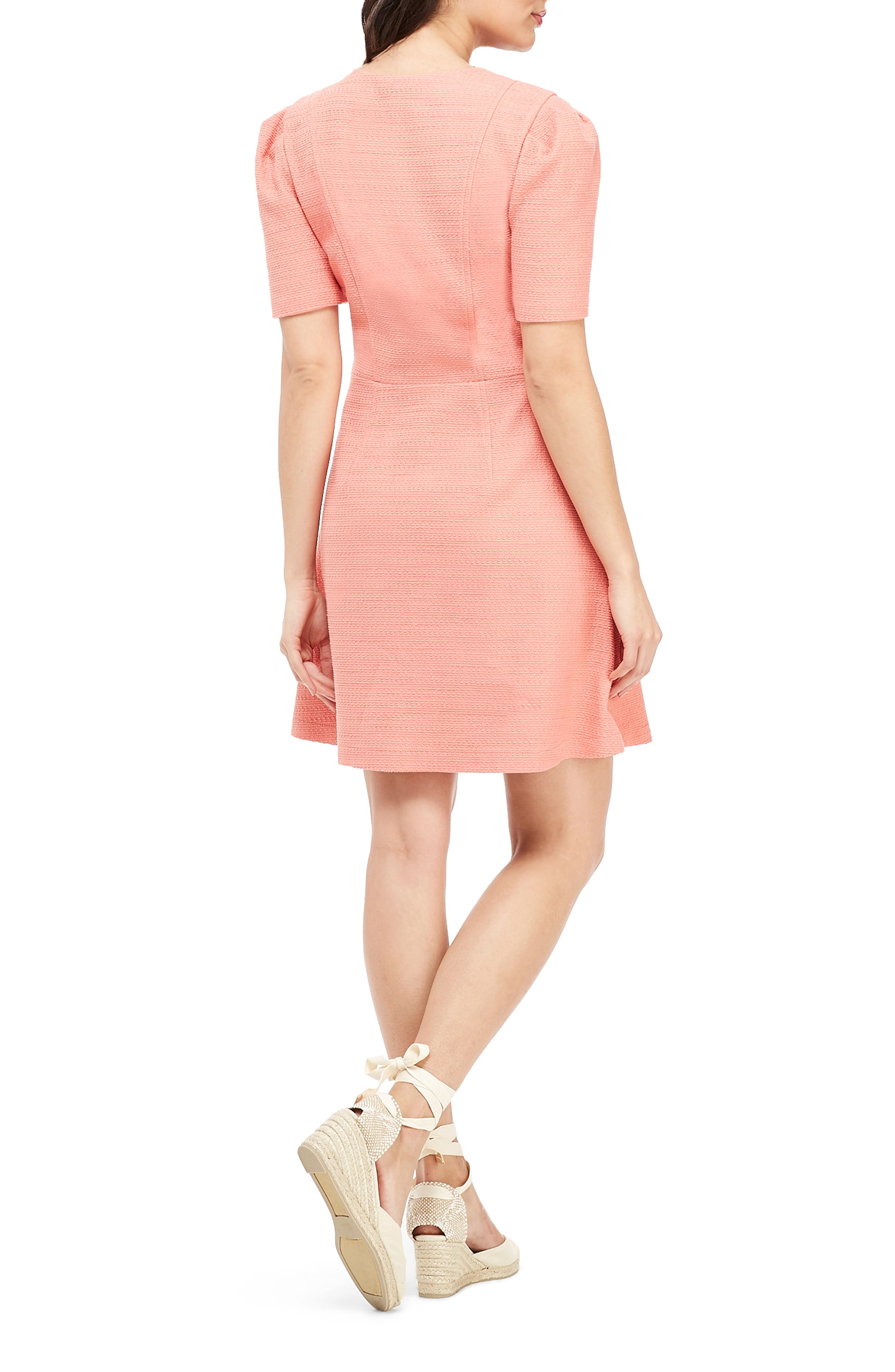 GAL MEETS GLAM COLLECTION, Kathleen Button Front A-Line Dress, Alternate thumbnail 2, color, SALMON