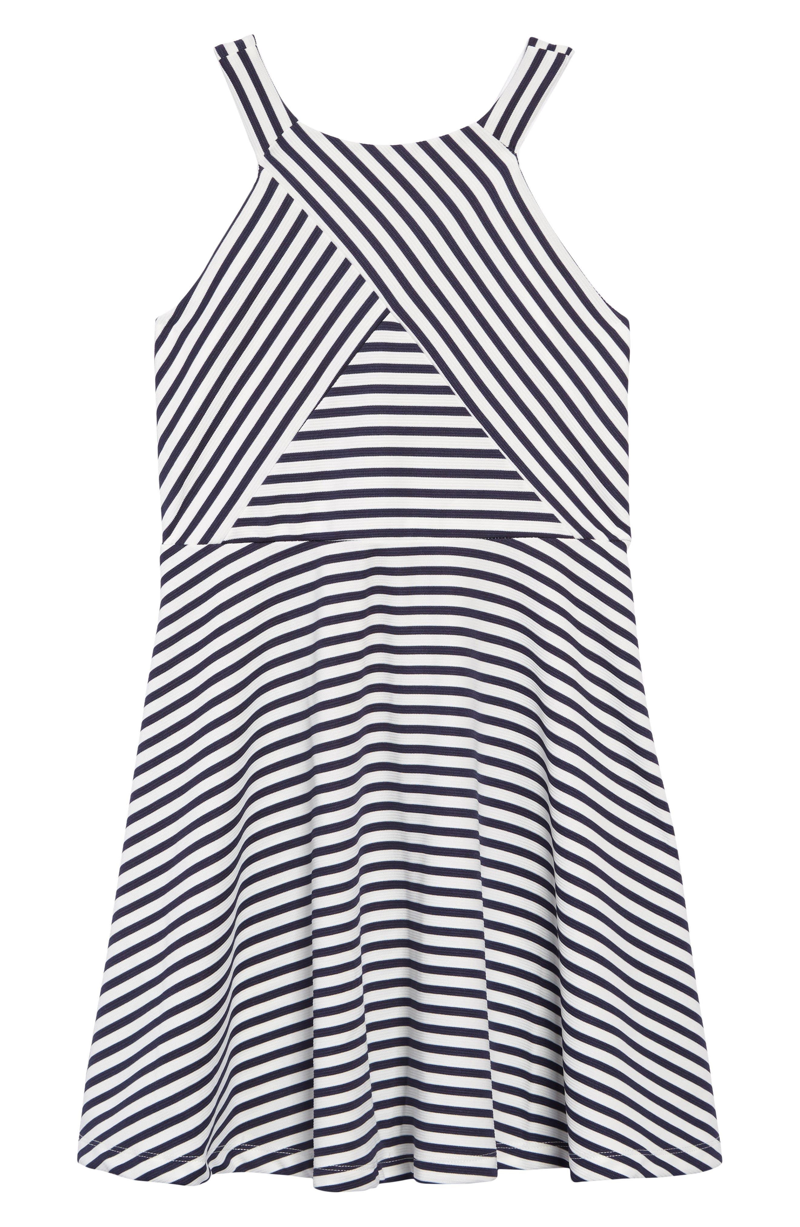 ZUNIE, Stripe Ottoman Skater Dress, Main thumbnail 1, color, NAVY/ WHITE