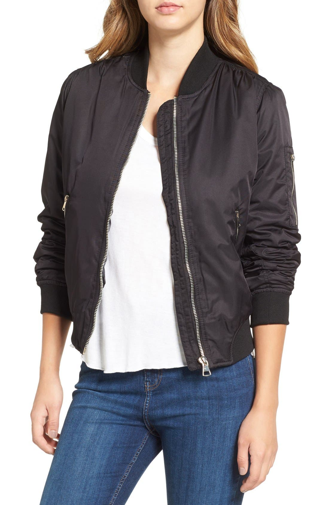 TOPSHOP MA1 Bomber Jacket, Main, color, 001