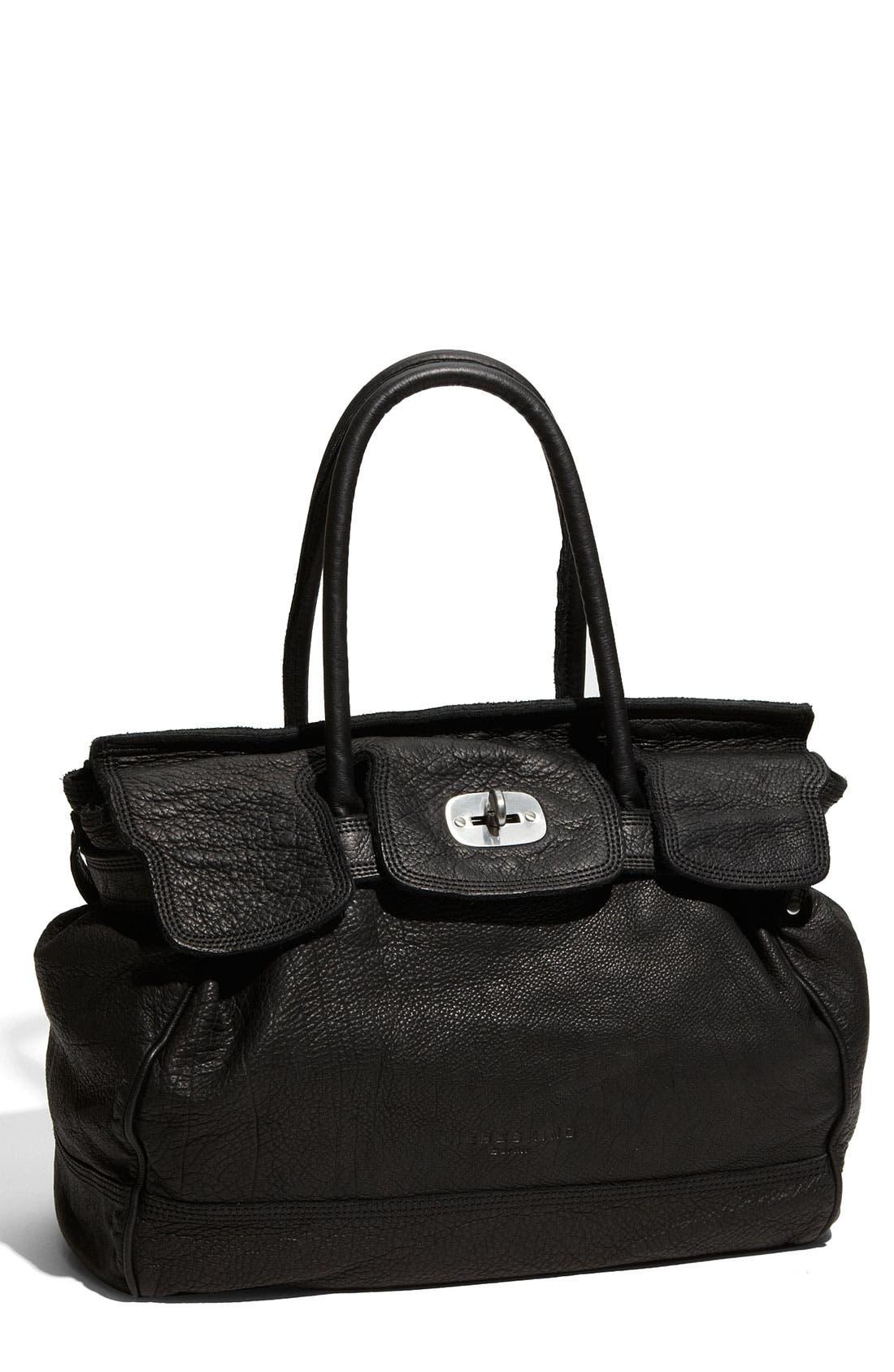 LIEBESKIND, 'Mia - Large' Soft Leather Satchel, Main thumbnail 1, color, 001