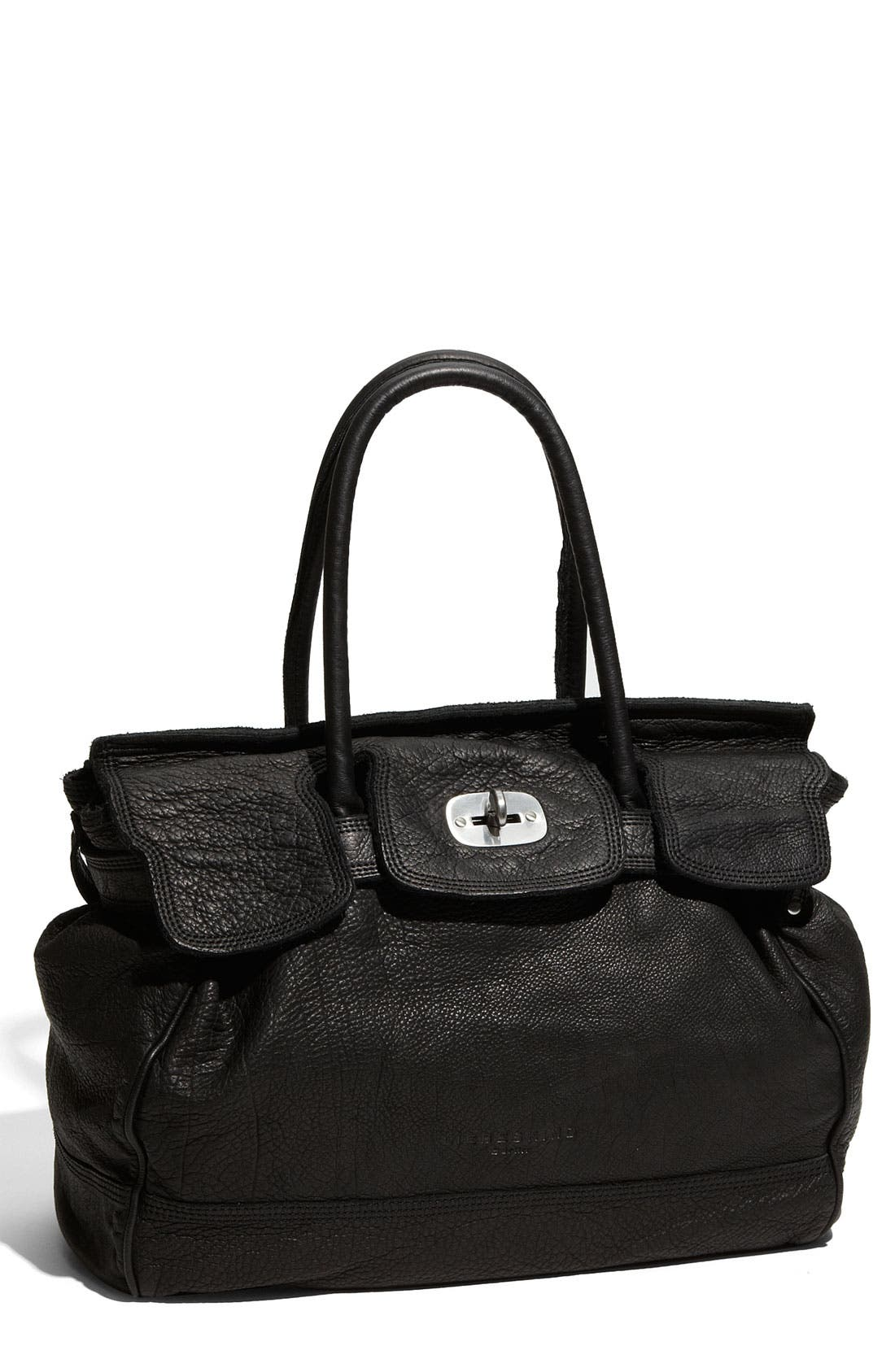 LIEBESKIND 'Mia - Large' Soft Leather Satchel, Main, color, 001