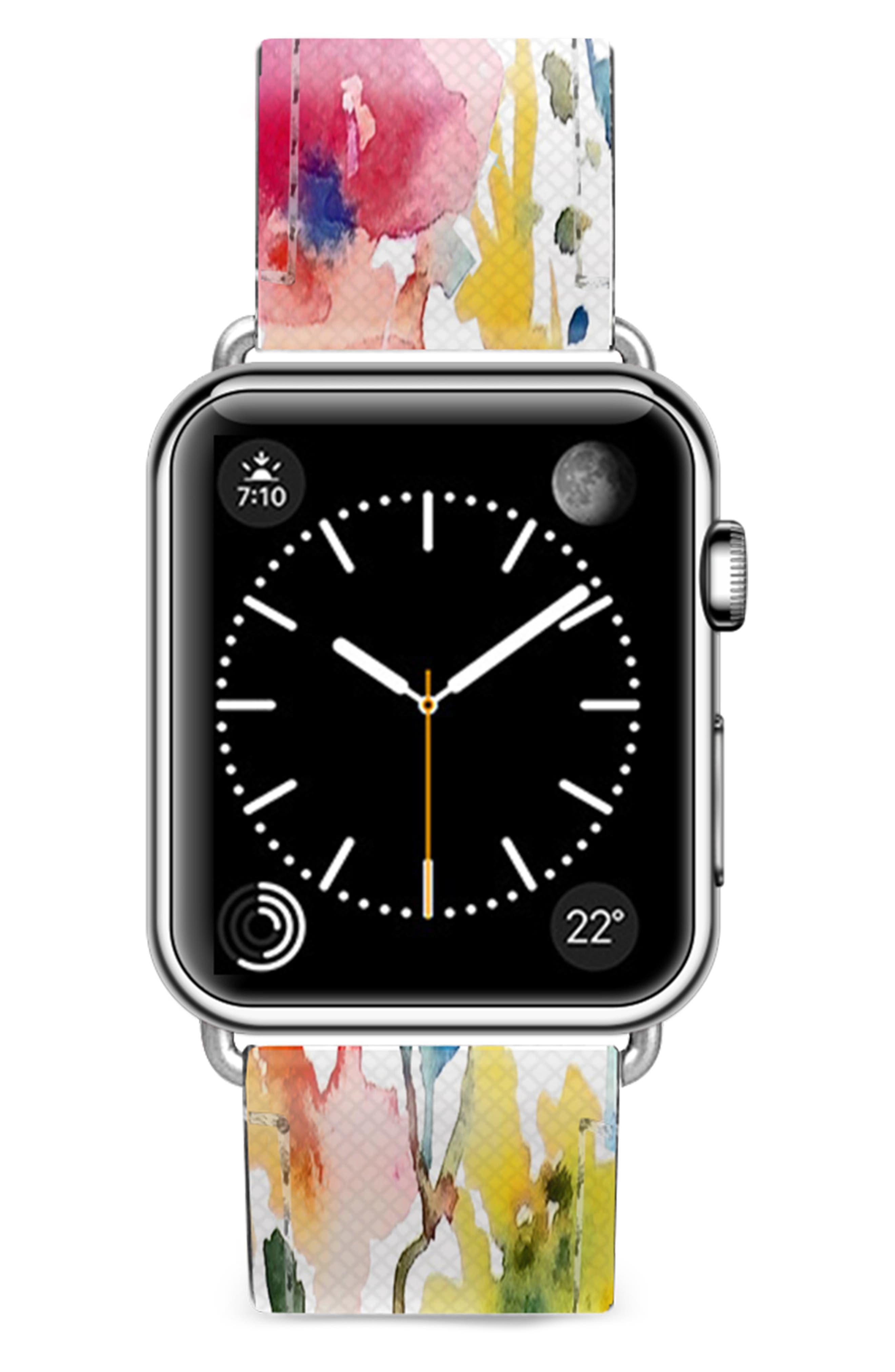 CASETIFY, Saffiano From the Garden Faux Leather Apple Watch Strap, Main thumbnail 1, color, WHITE/ SILVER