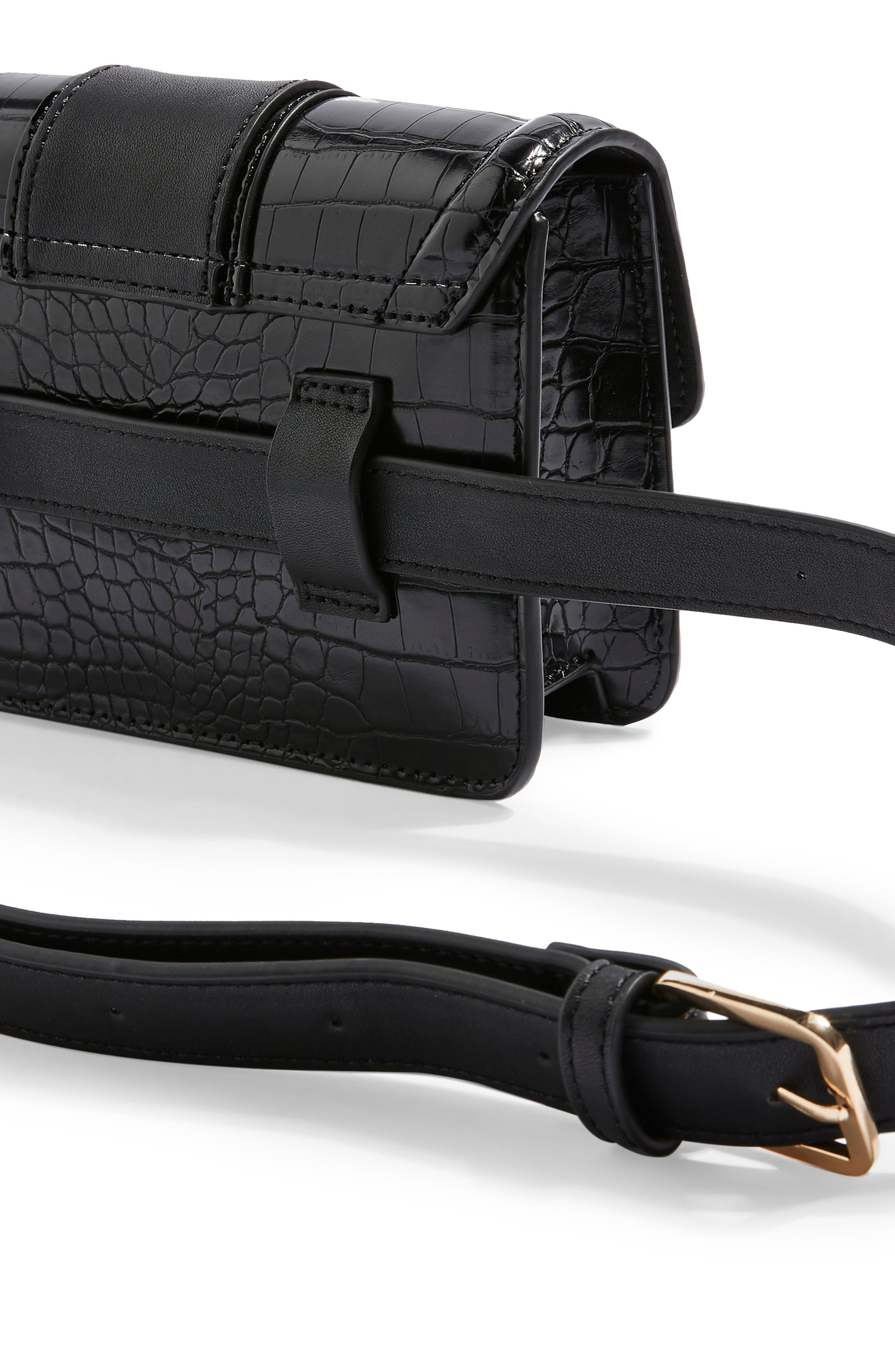 TOPSHOP, Cheetah Belt Bag, Alternate thumbnail 3, color, BLACK
