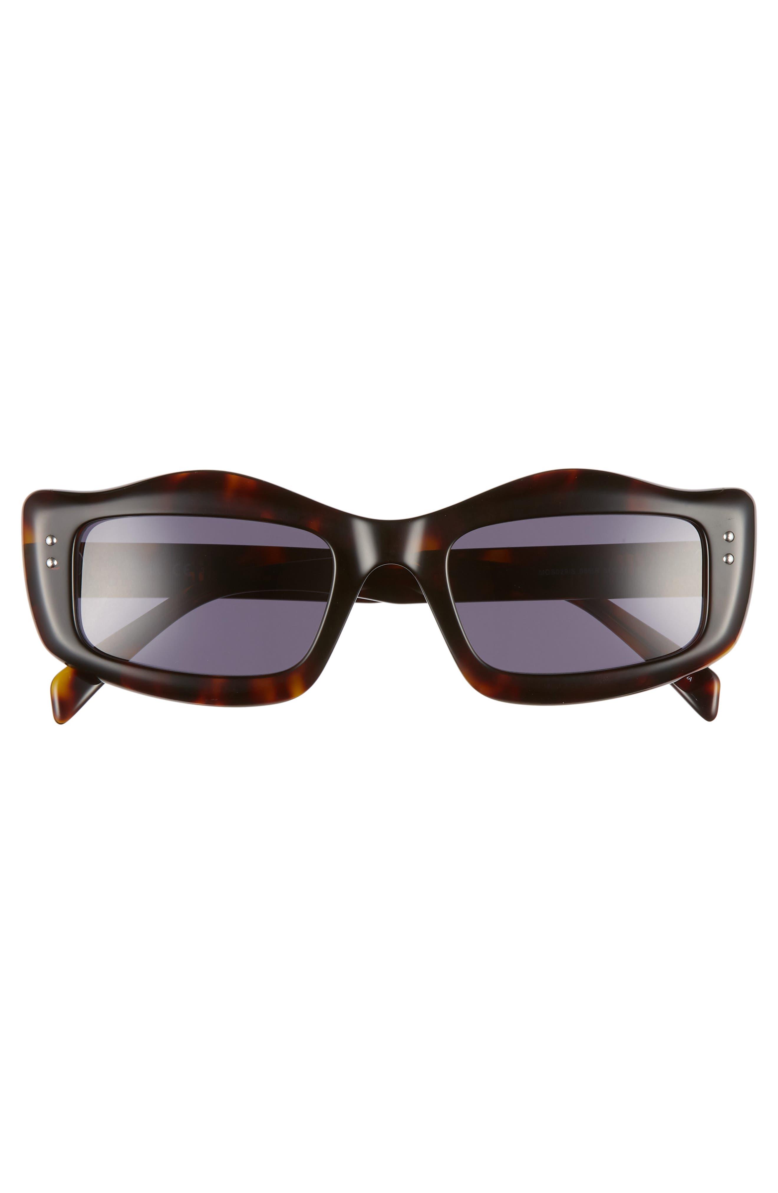 MOSCHINO, 51mm Rectangle Sunglasses, Alternate thumbnail 3, color, DARK HAVANA