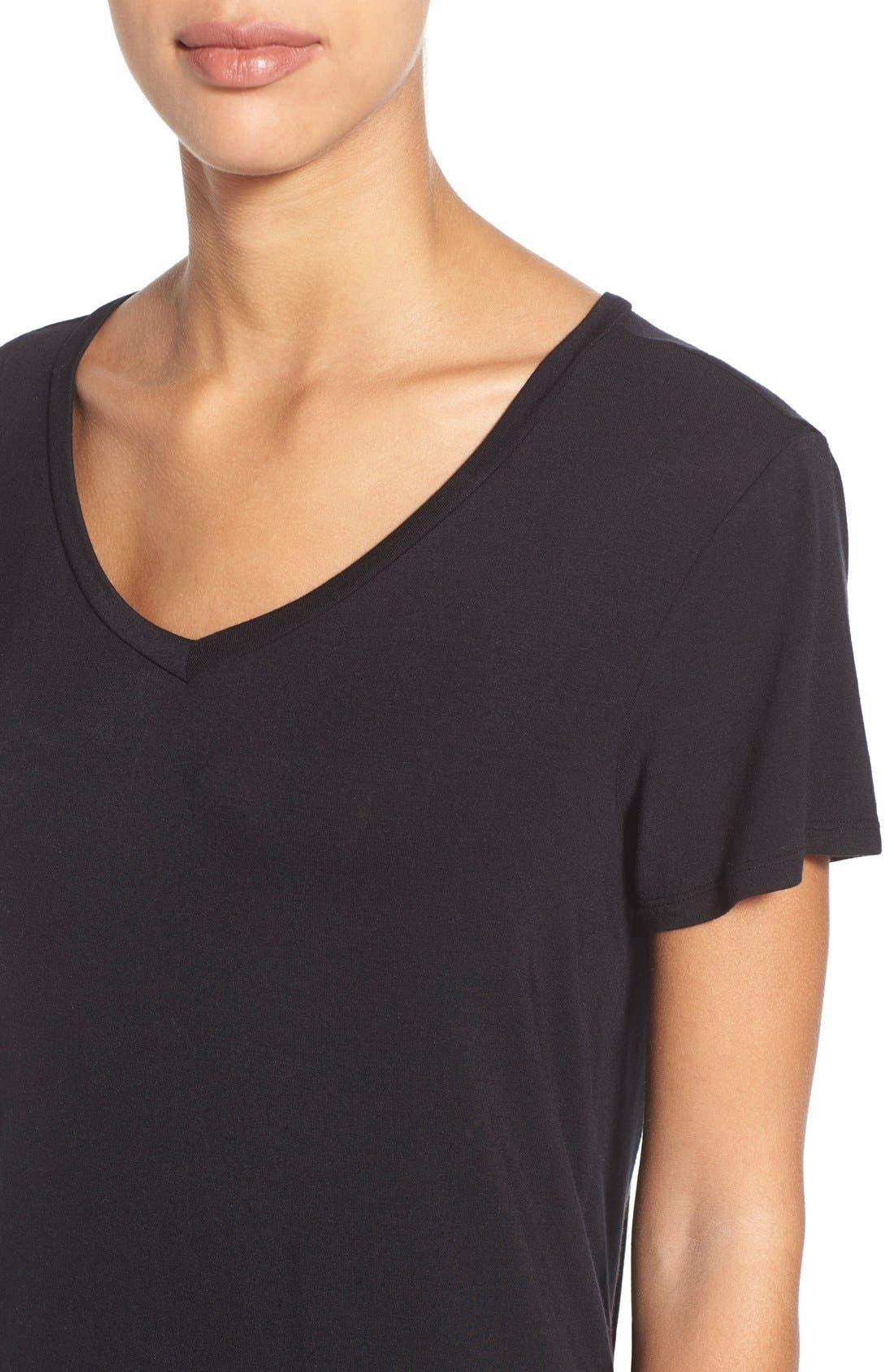 HALOGEN<SUP>®</SUP>, Modal Jersey V-Neck Tee, Alternate thumbnail 4, color, BLACK