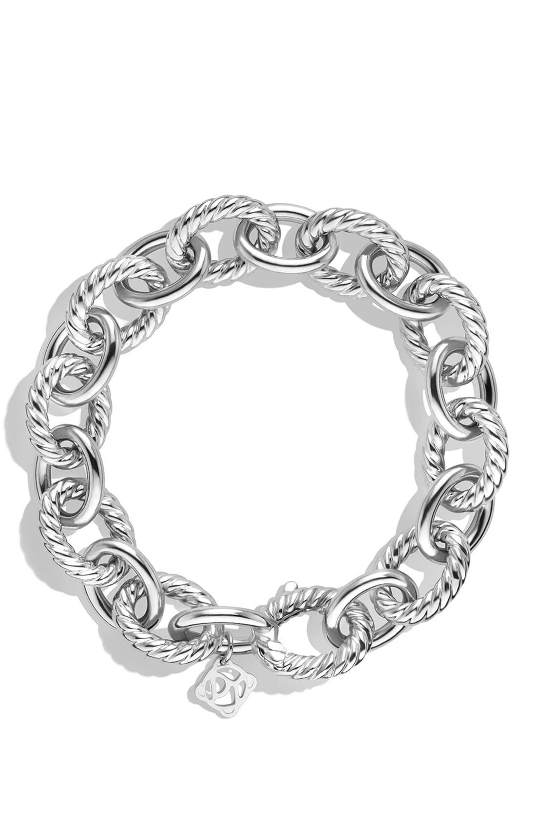 DAVID YURMAN, 'Oval' Large Link Bracelet, Alternate thumbnail 3, color, SILVER