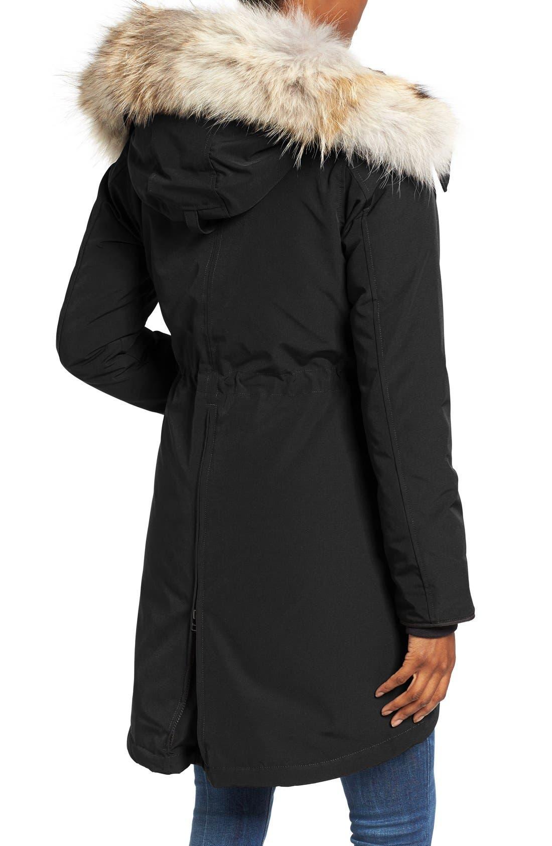 CANADA GOOSE, Rossclair Genuine Coyote Fur Trim Down Parka, Alternate thumbnail 4, color, BLACK