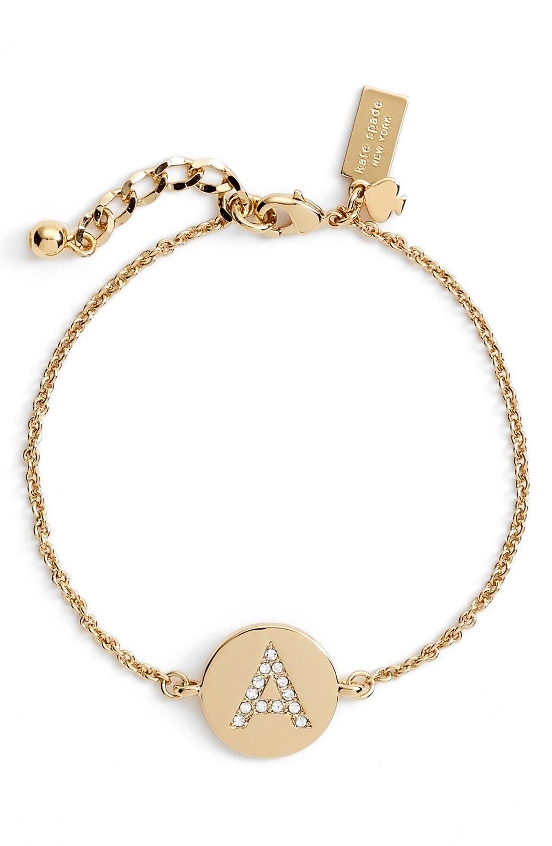 KATE SPADE NEW YORK 'north court' pavé initial charm bracelet, Main, color, 710