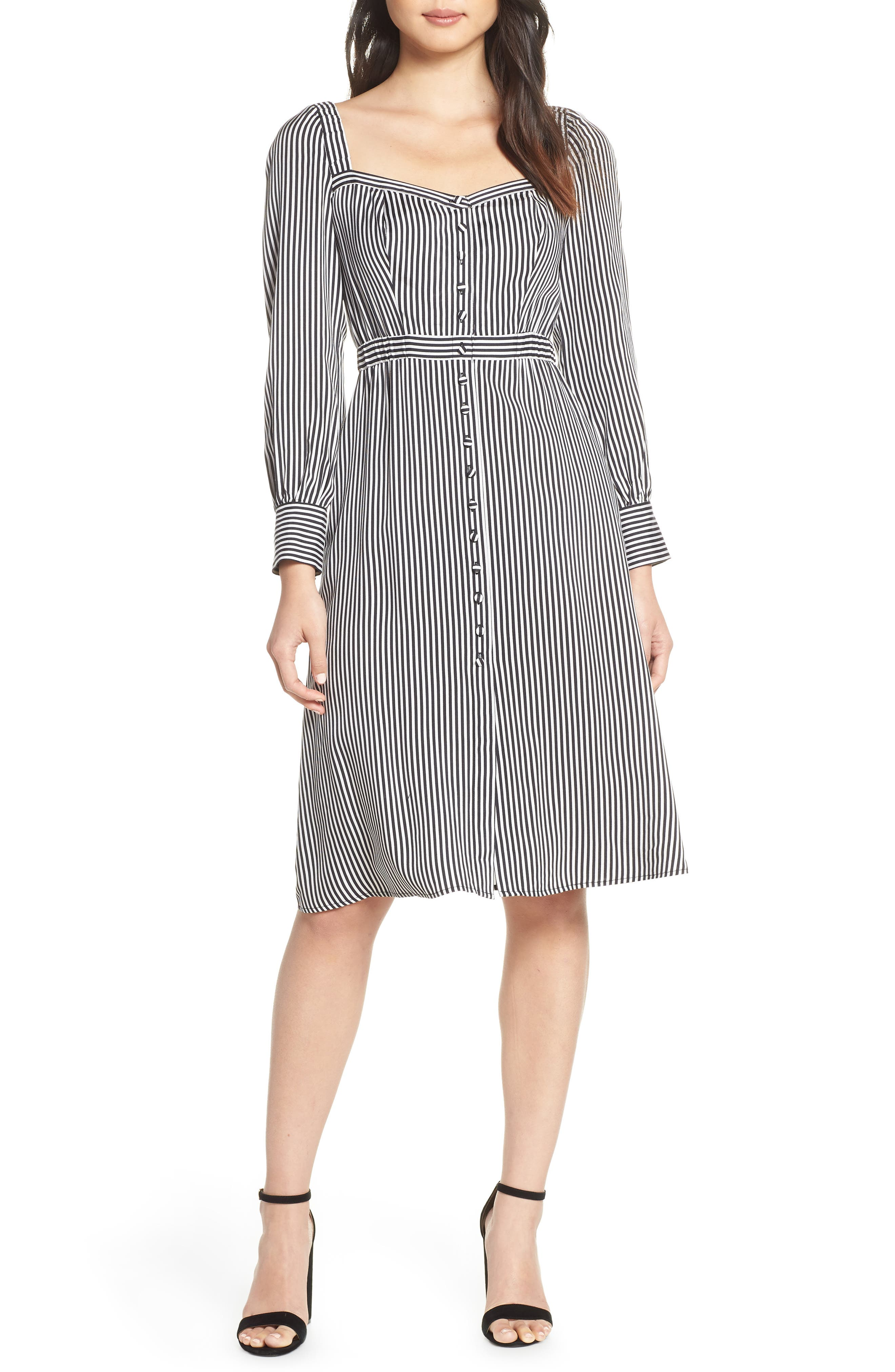 ALI & JAY, Take Me Downtown Stripe Dress, Main thumbnail 1, color, 001