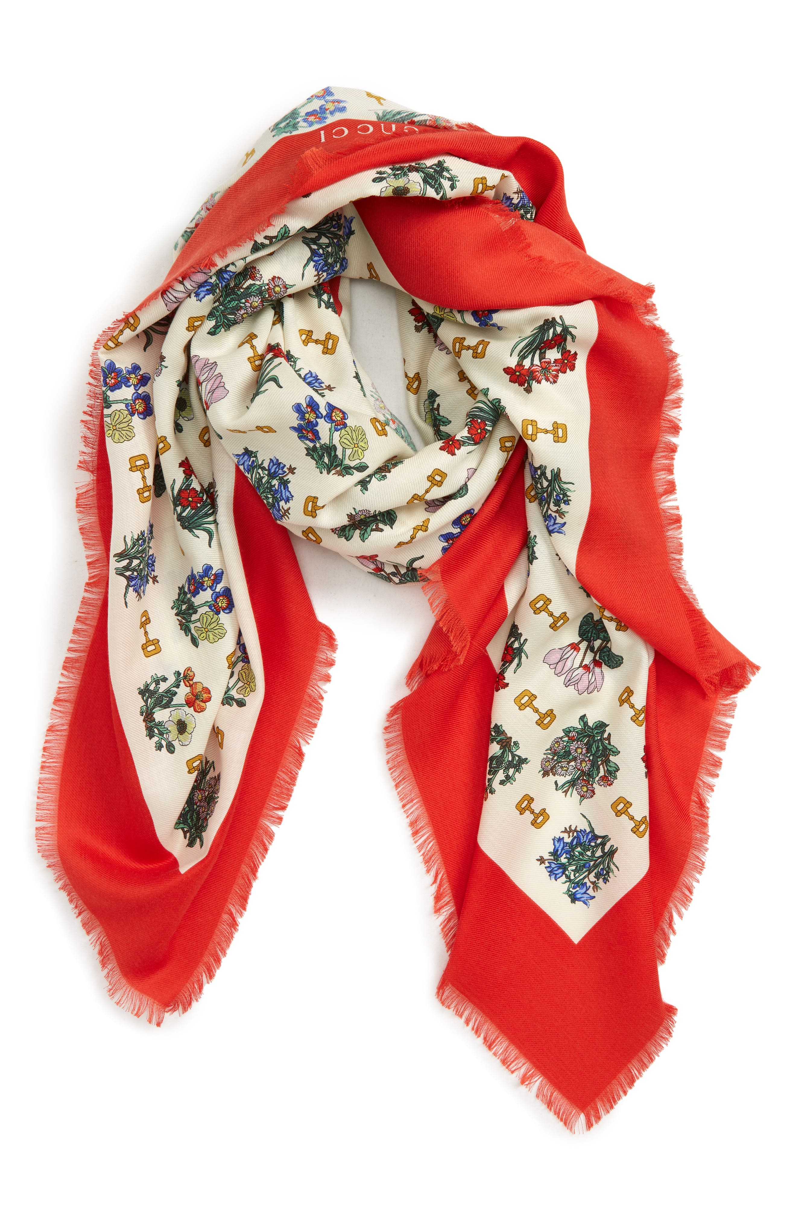 GUCCI, Light Cyclamen Cashmere & Silk Scarf, Alternate thumbnail 3, color, IVORY/ RED