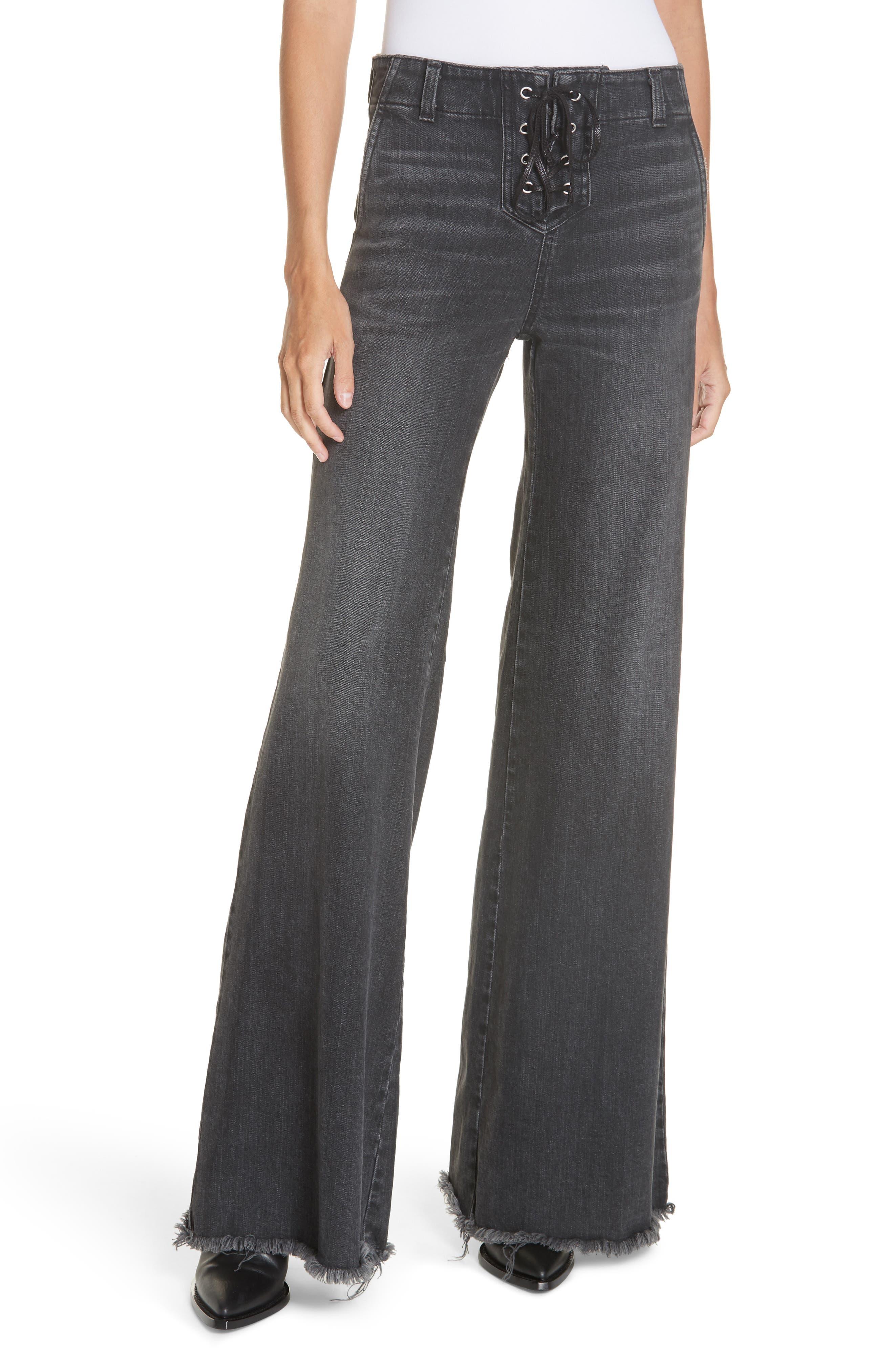 NILI LOTAN, Wade Lace-Up Wide Leg Jeans, Main thumbnail 1, color, VINTAGE BLACK
