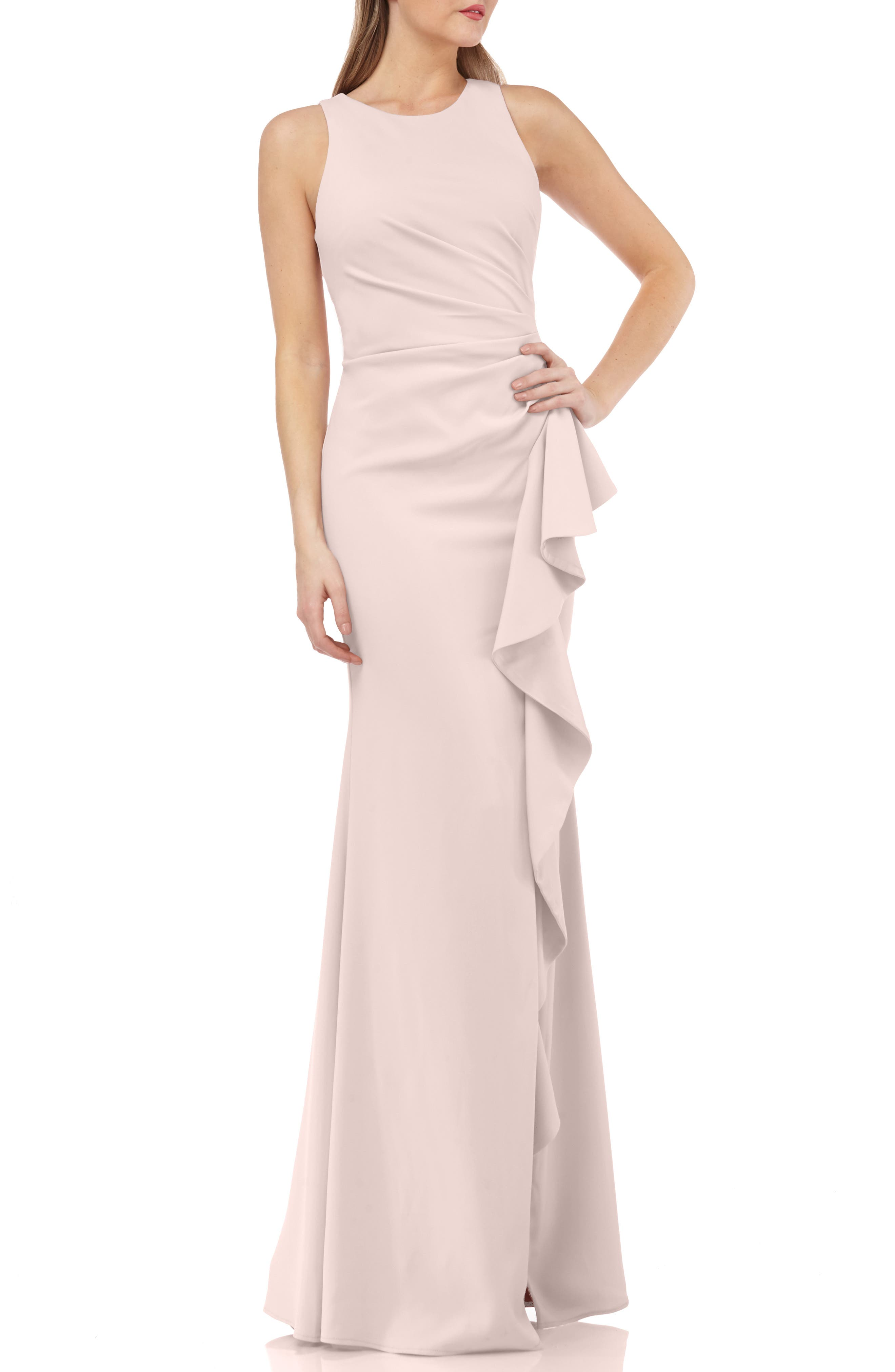 Carmen Marc Valvo Couture Infusion Ruffle Gown, Pink