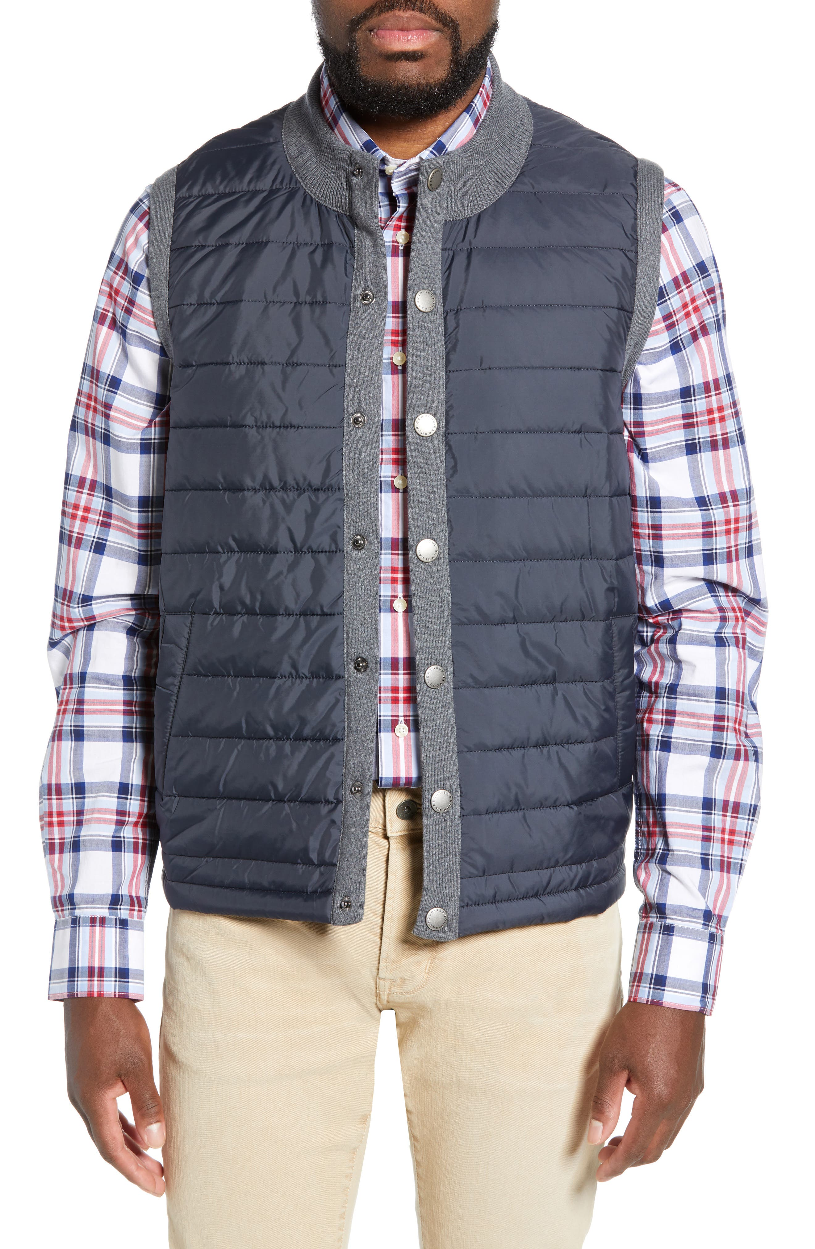 BARBOUR, 'Essential' Tailored Fit Mixed Media Vest, Alternate thumbnail 2, color, MID GREY