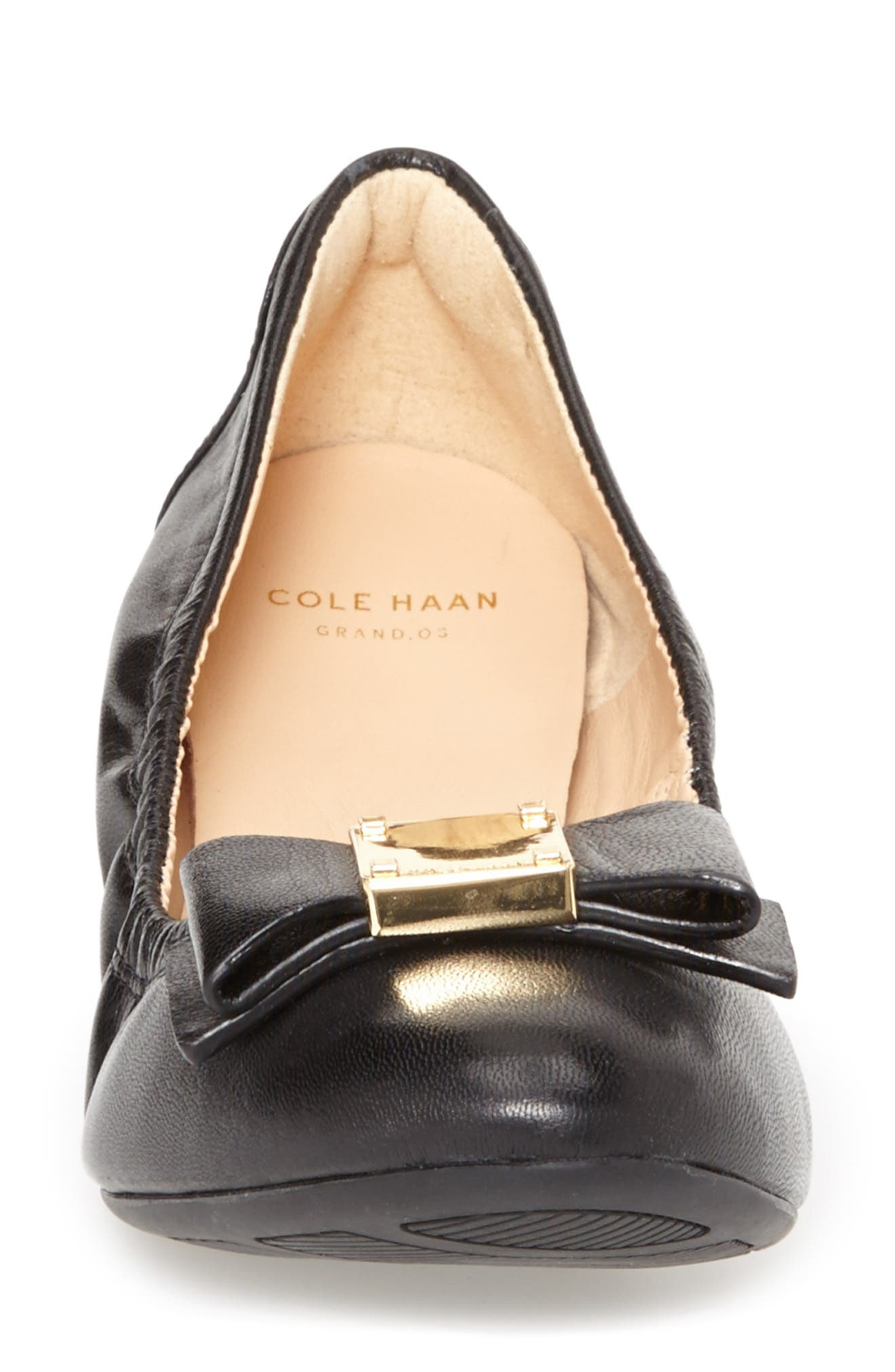COLE HAAN, 'Tali' Bow Ballet Flat, Alternate thumbnail 3, color, BLACK