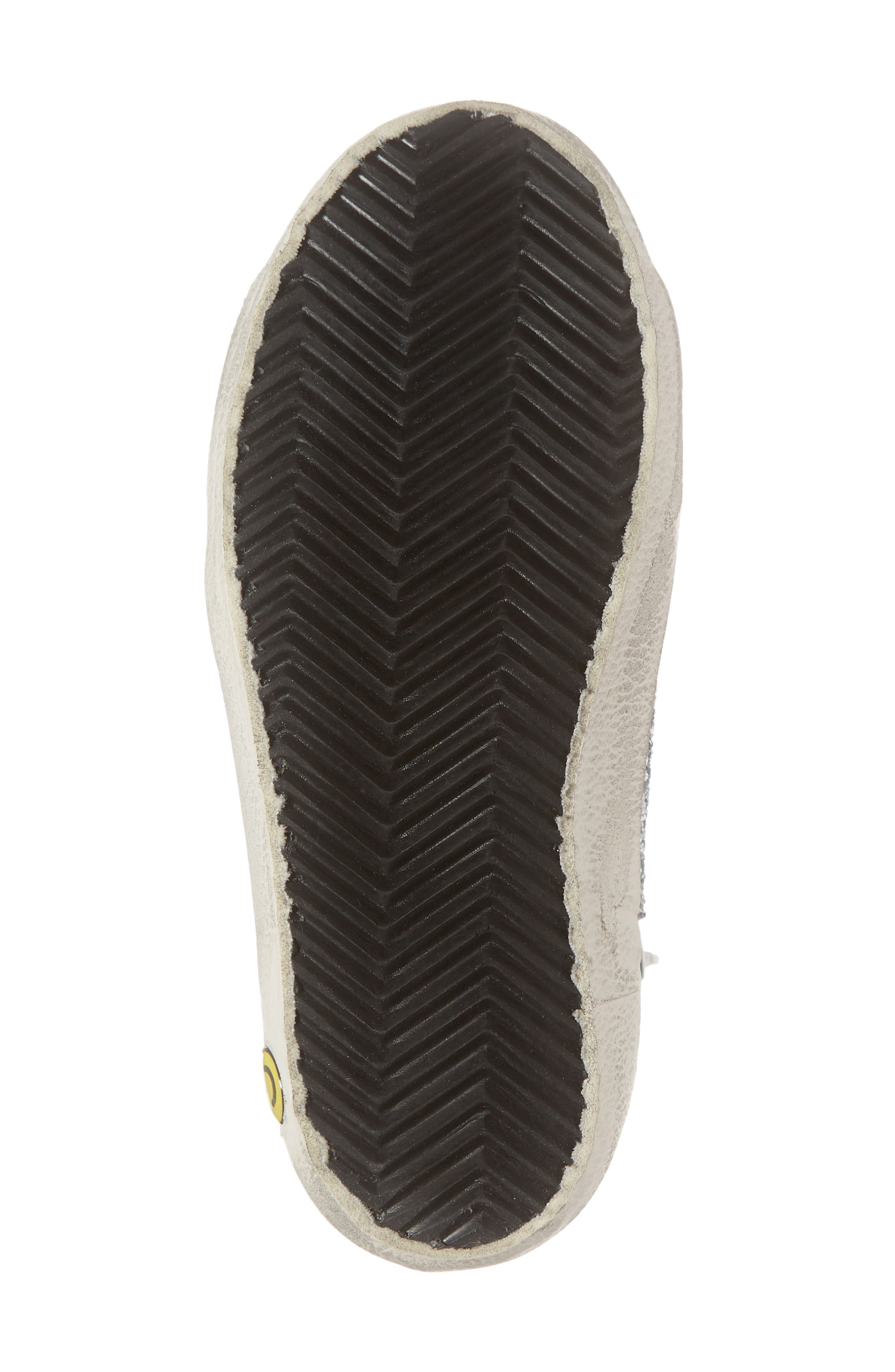GOLDEN GOOSE, Slide Glitter High Top Sneaker, Alternate thumbnail 6, color, SILVER GLITTER/ BLACK SLIDE
