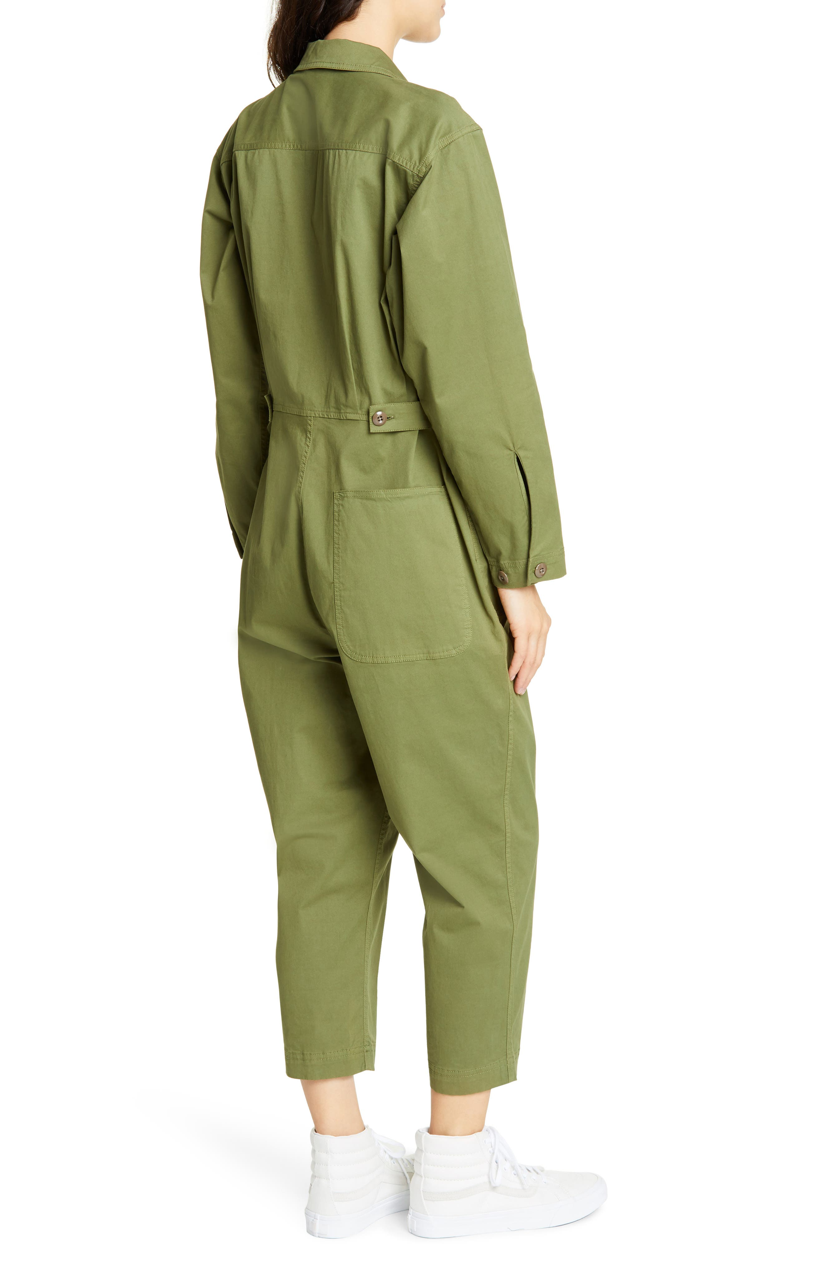 ALEX MILL, Stretch Cotton Jumpsuit, Alternate thumbnail 2, color, ARMY GREEN
