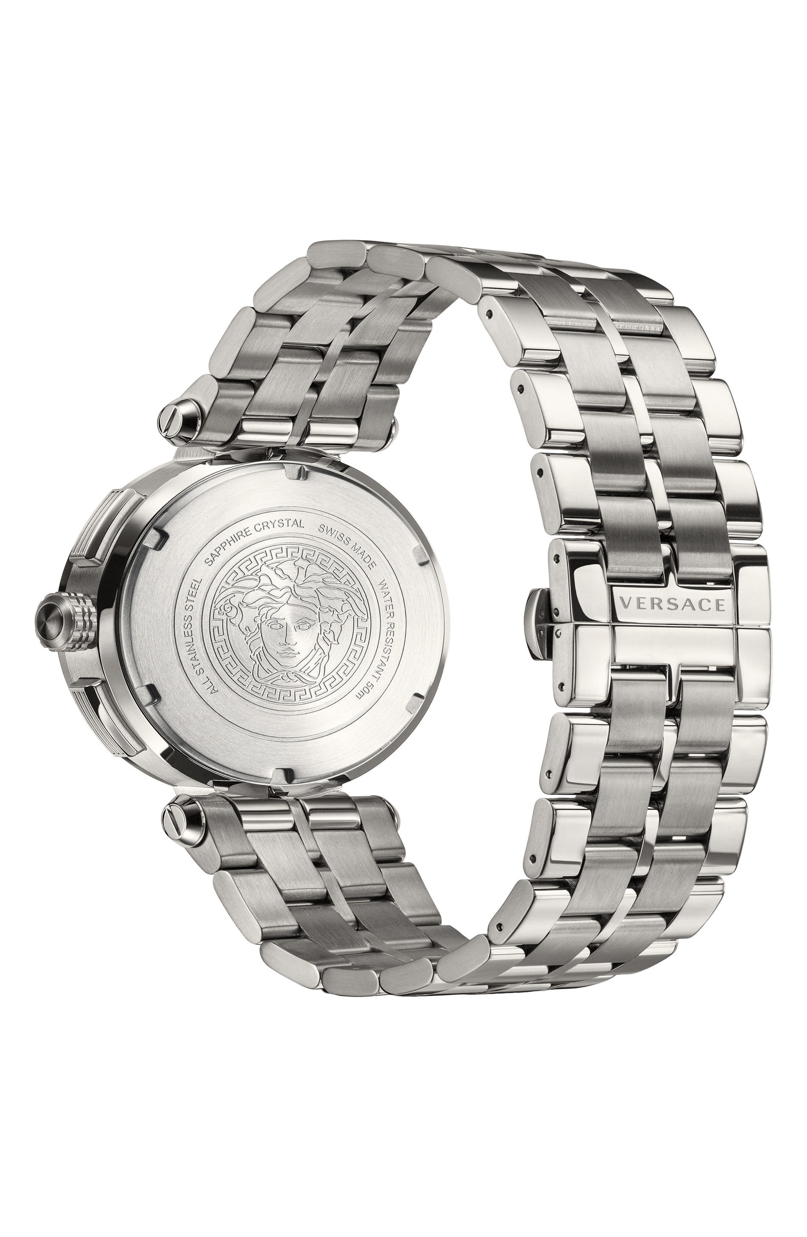 VERSACE, Aion Chronograph Bracelet Watch, 45mm, Alternate thumbnail 2, color, SILVER