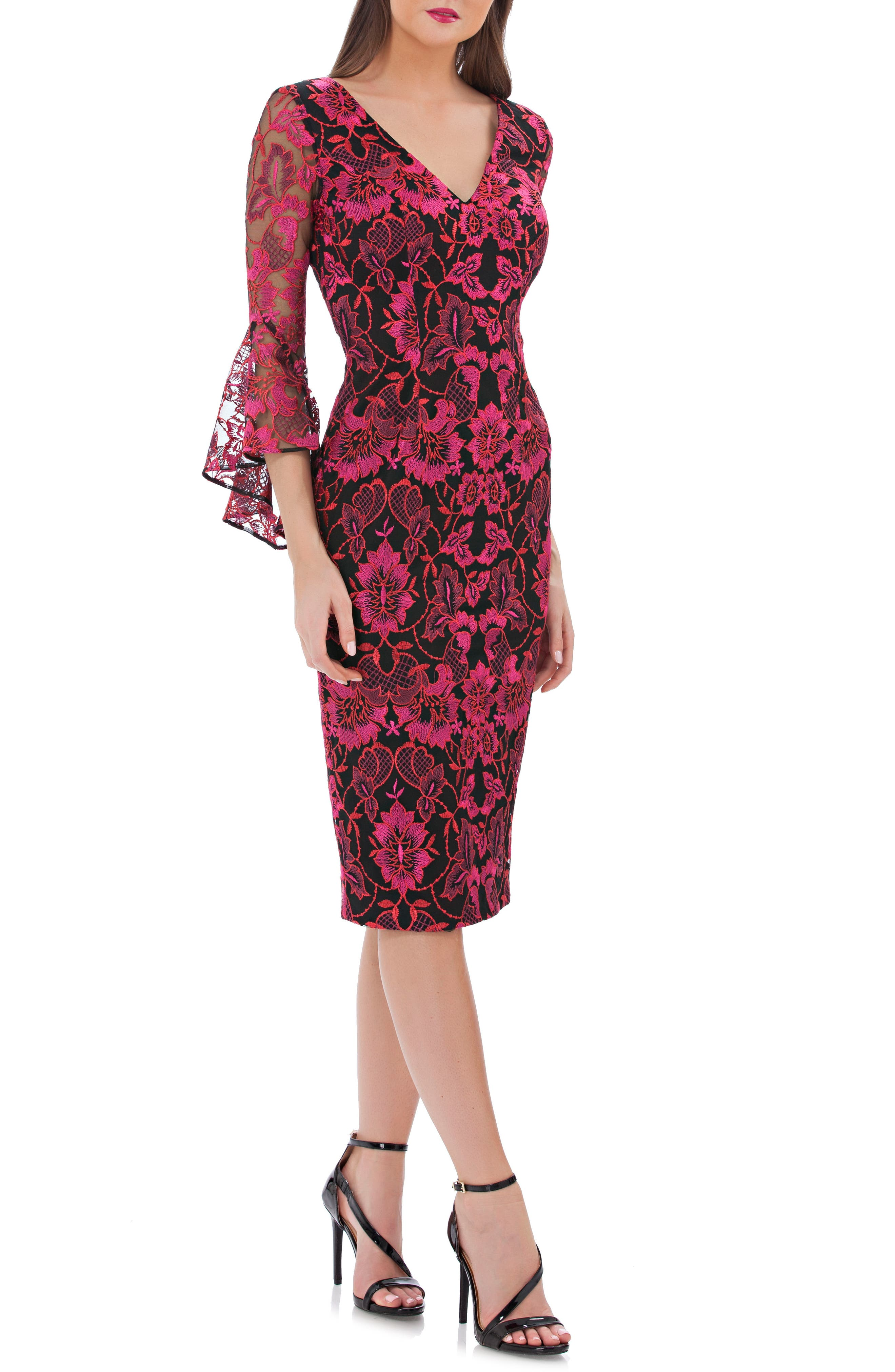 Carmen Marc Valvo Infusion Embroidered Sheath Dress, Red