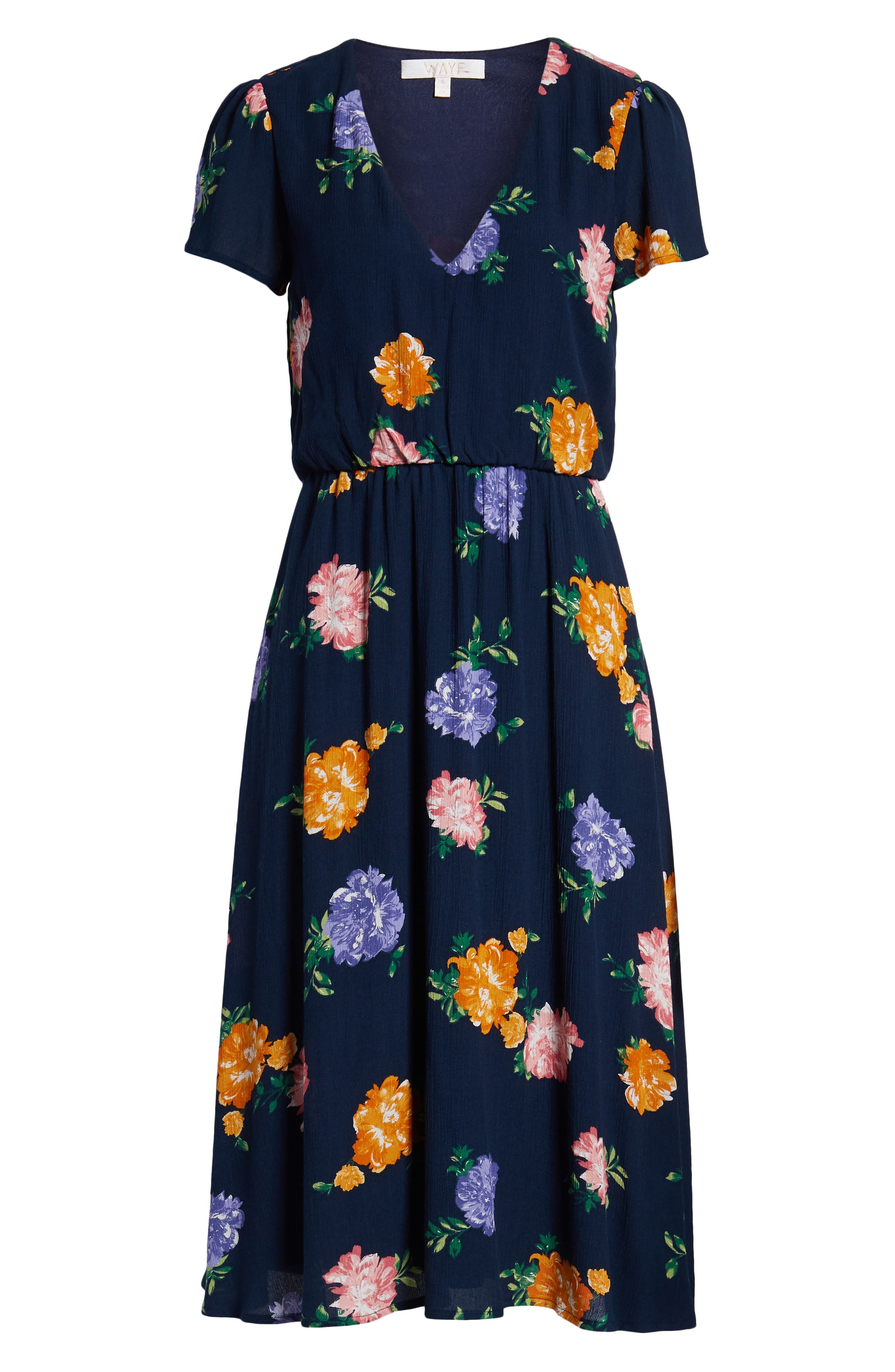 WAYF, Blouson Midi Dress, Alternate thumbnail 7, color, NAVY FLORAL