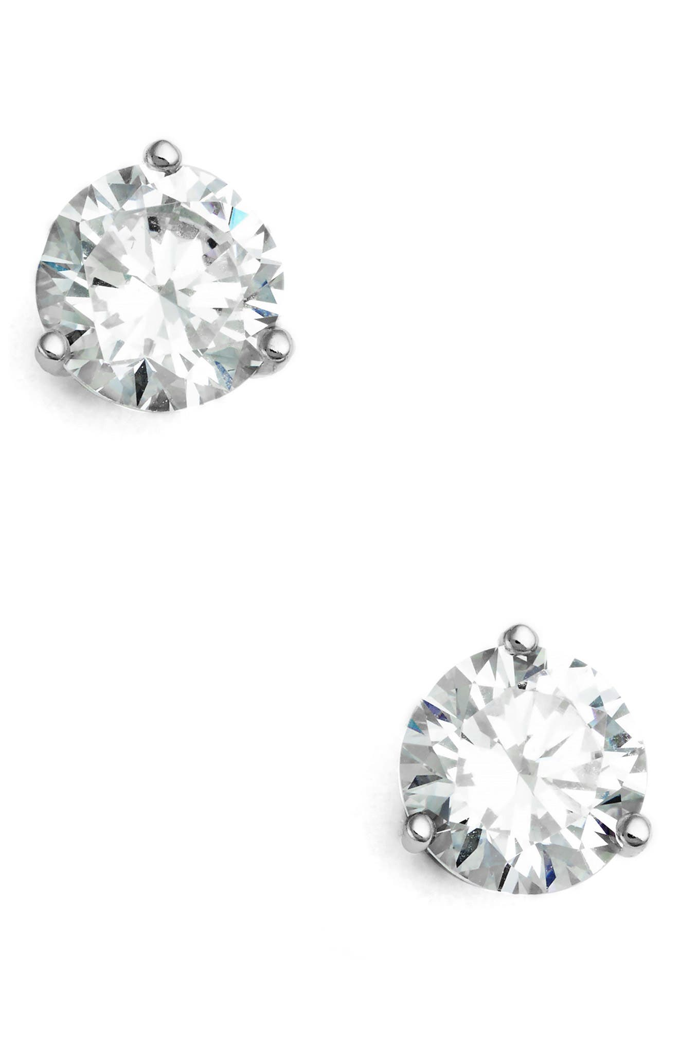NORDSTROM 2ct tw Cubic Zirconia Earrings, Main, color, PLATINUM