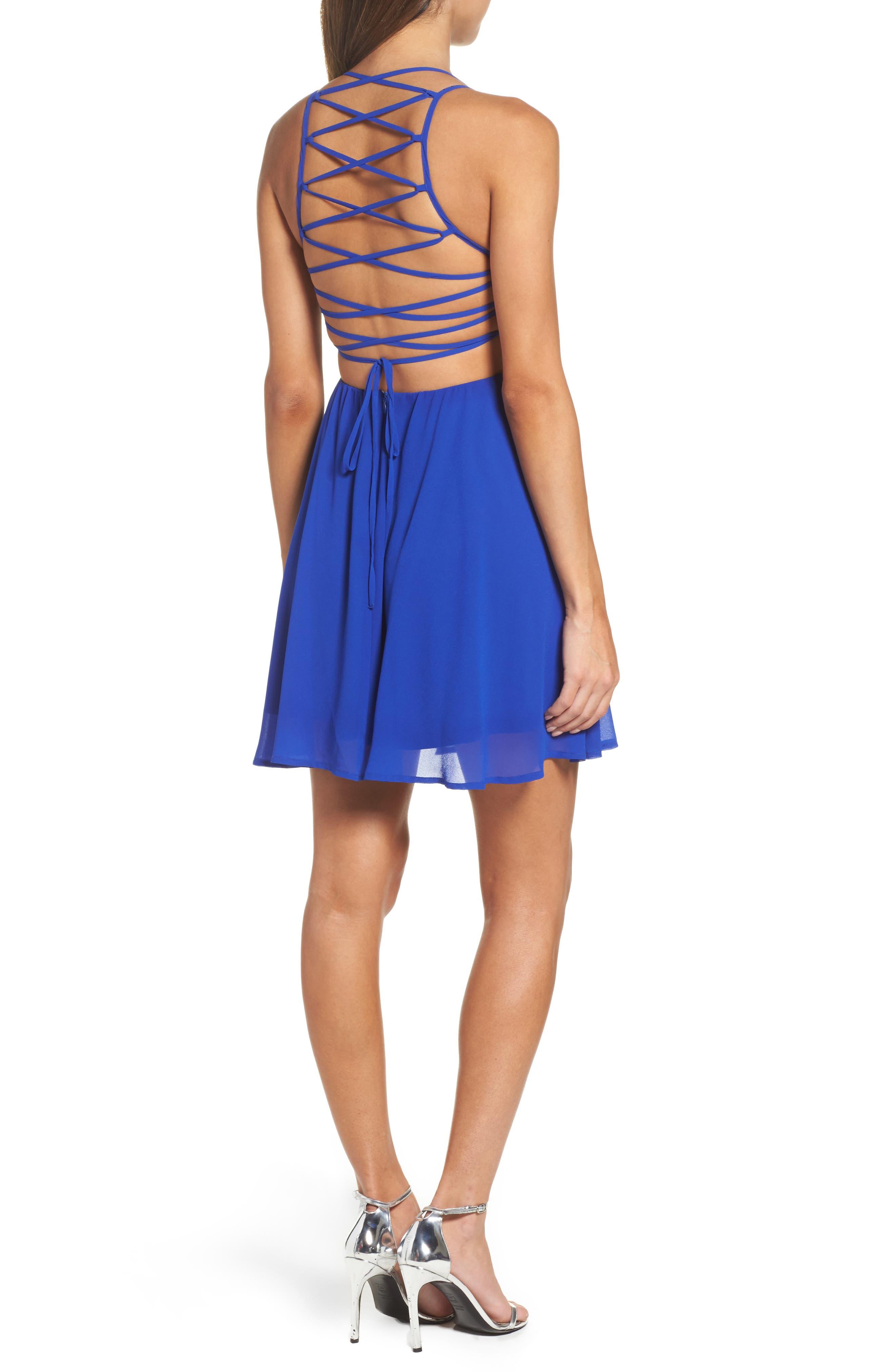 LULUS, Good Deeds Lace-Up Skater Dress, Alternate thumbnail 2, color, ROYAL BLUE