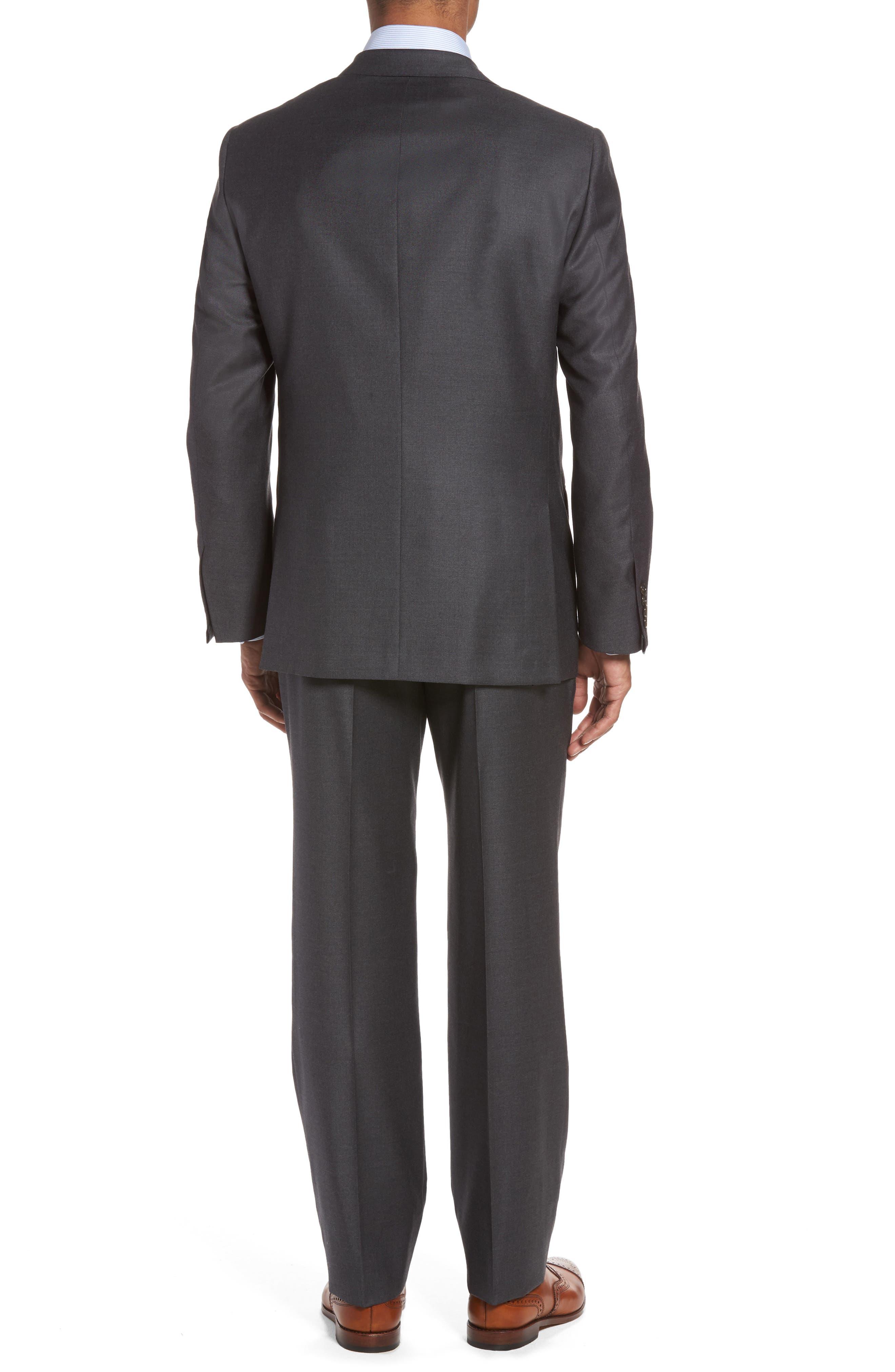 HICKEY FREEMAN, Classic B Fit Loro Piana Wool Suit, Alternate thumbnail 2, color, GREY