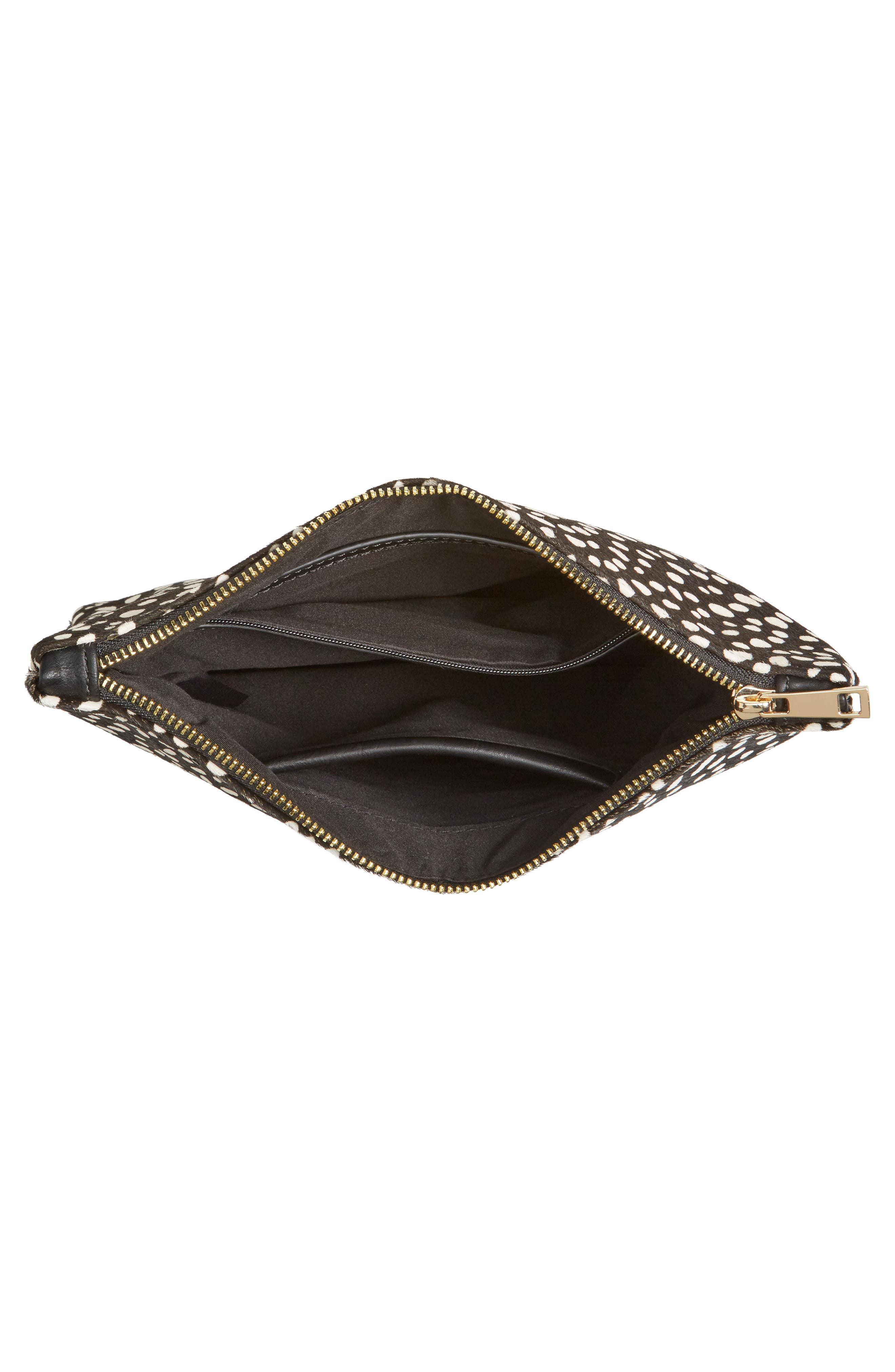 SOLE SOCIETY, 'Dolce' Genuine Calf Hair Clutch, Alternate thumbnail 4, color, 001