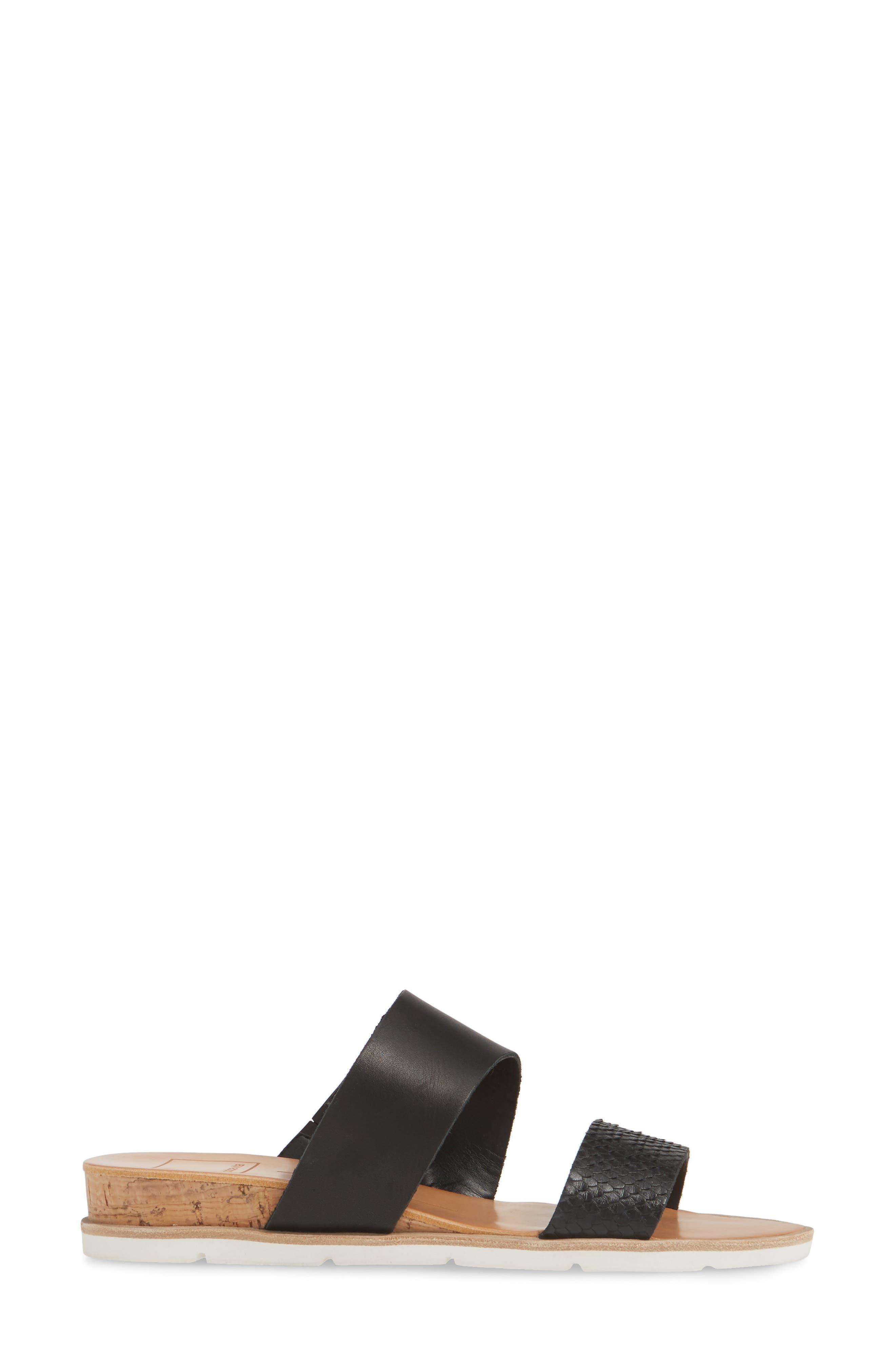 DOLCE VITA, Vala Wedge Slide Sandal, Alternate thumbnail 3, color, BLACK LEATHER