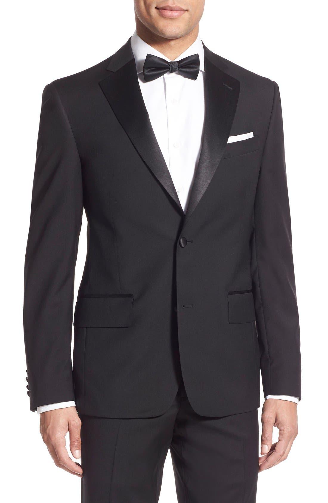 NORDSTROM MEN'S SHOP, Trim Fit Wool Tuxedo, Alternate thumbnail 3, color, BLACK