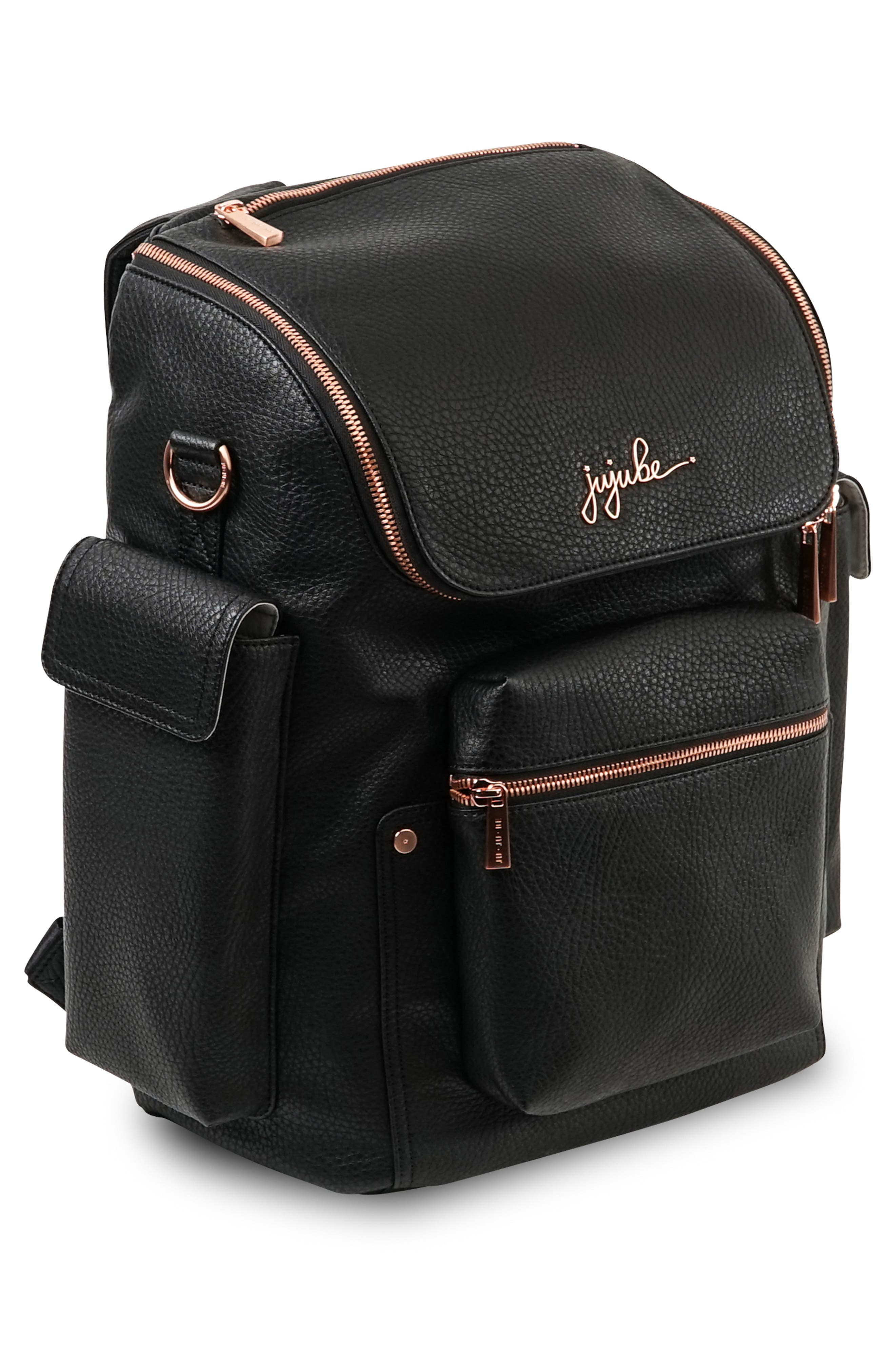 JU-JU-BE, Ever Collection Forever Faux Leather Diaper Backpack, Alternate thumbnail 5, color, NOIR NEW