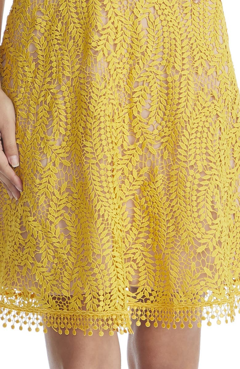 21badb7ca454 Dress The Population Piper Crochet Lace Cocktail Dress In Canary/ Nude