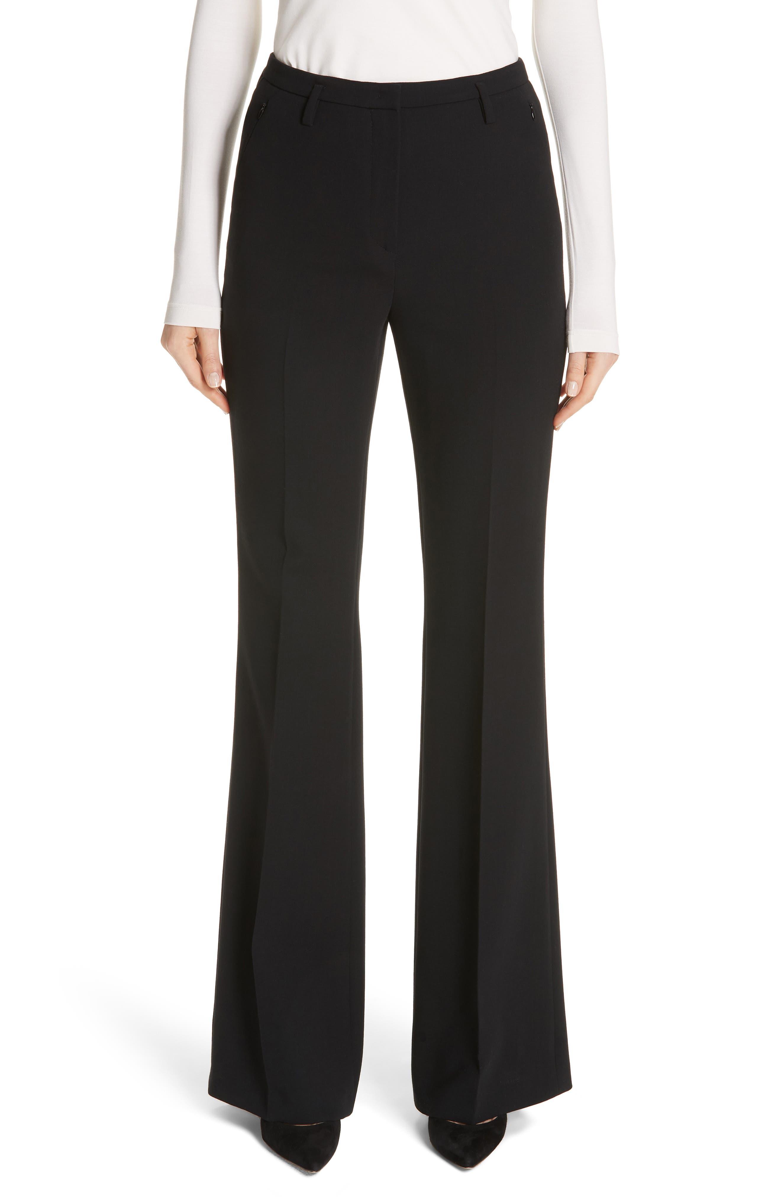 AKRIS, Farrah Stretch Wool Flare Pants, Main thumbnail 1, color, BLACK