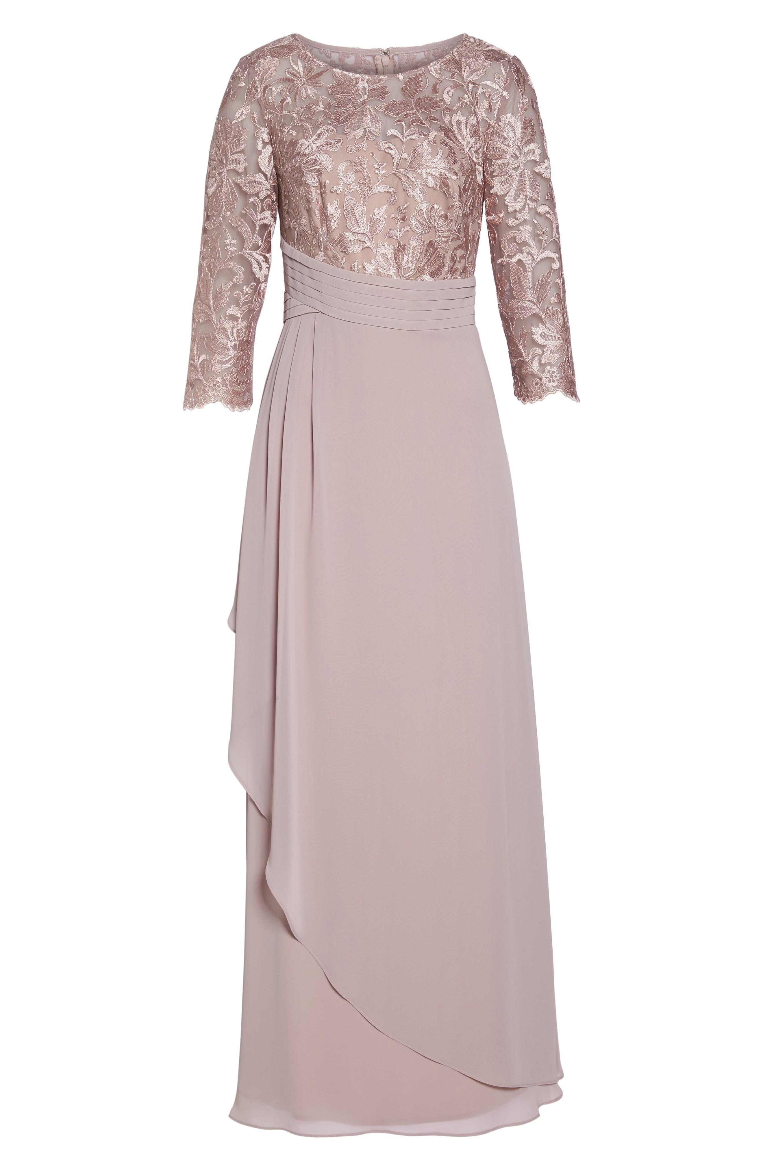 ALEX EVENINGS, Embroidered A-Line Gown, Alternate thumbnail 6, color, 695