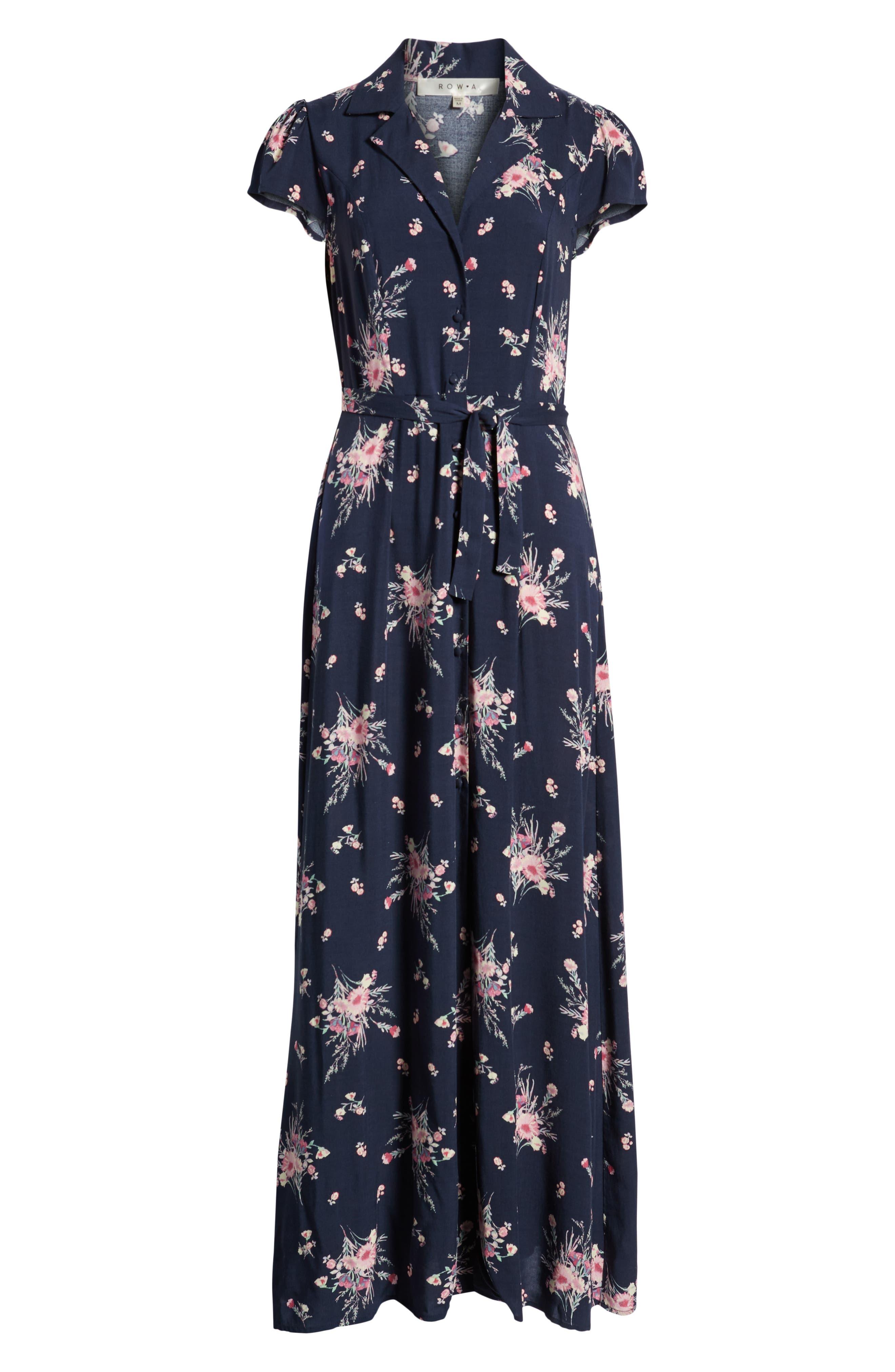 ROW A, Floral Print Maxi Dress, Alternate thumbnail 7, color, NAVY FLORAL